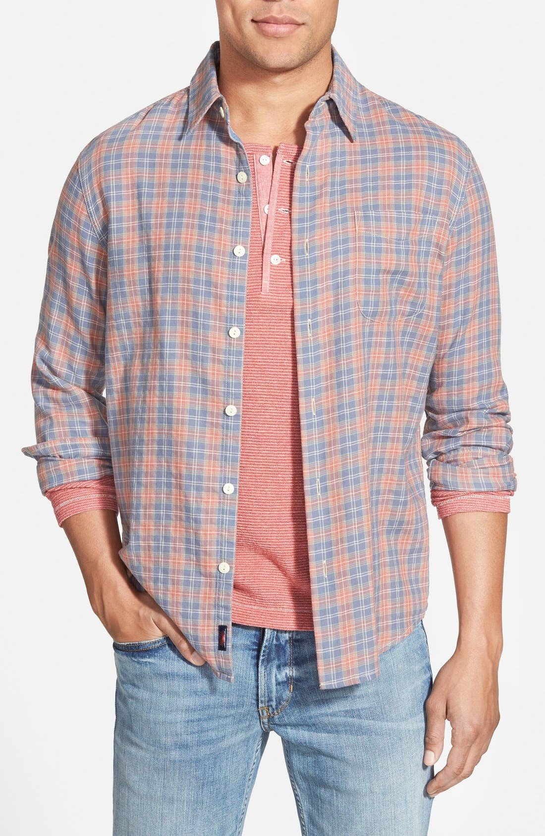 'Ventura' Trim Fit Washed Plaid Sport Shirt,                             Main thumbnail 1, color,                             600