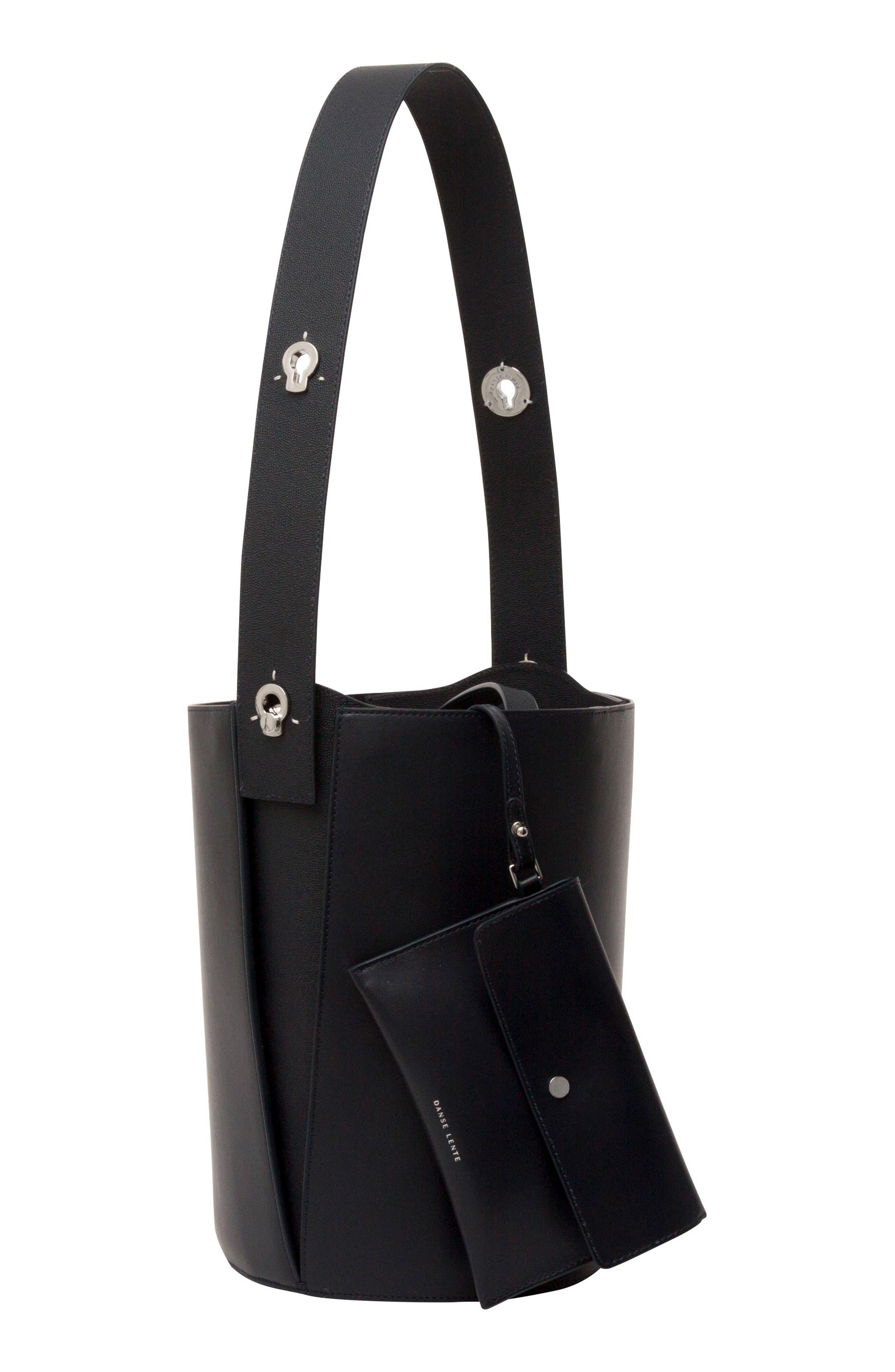 Mini Lorna Leather Bucket Bag,                             Alternate thumbnail 3, color,                             MARINE