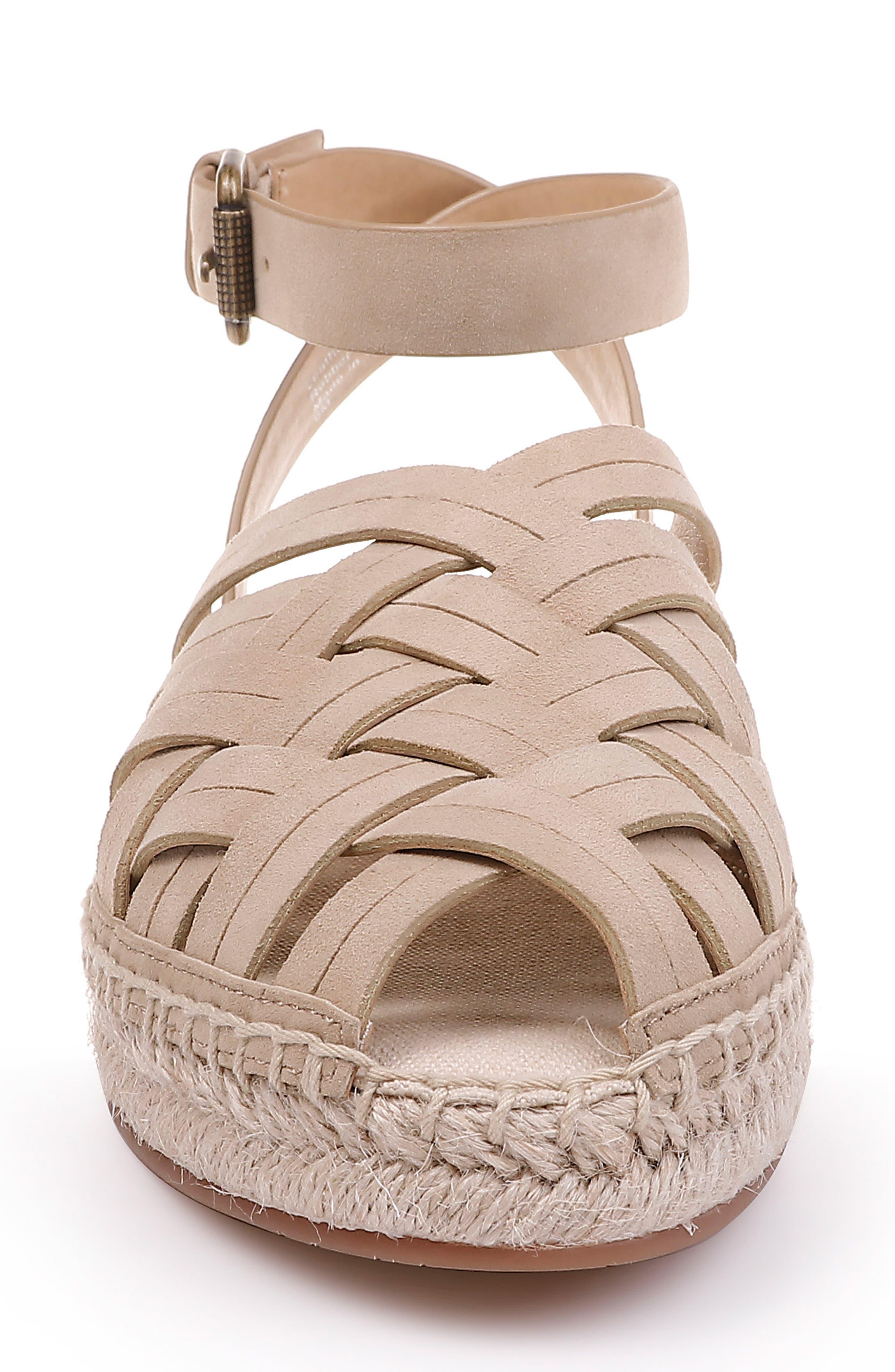 Sheryl Espadrille Ankle Strap Sandal,                             Alternate thumbnail 4, color,                             MUSHROOM SUEDE