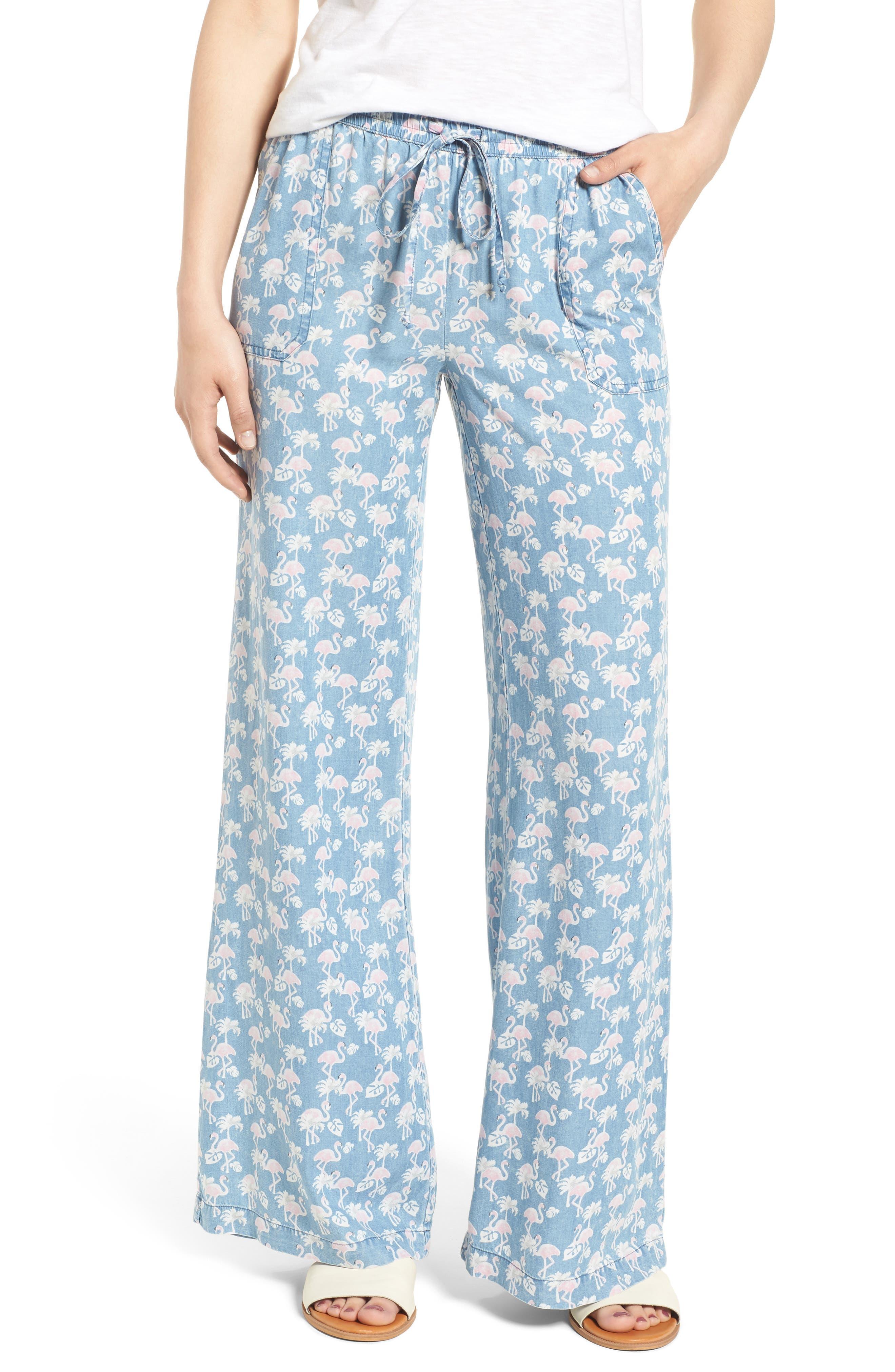 Pink Flamingo Drawstring Pants,                         Main,                         color, BLUE FLAMINGO