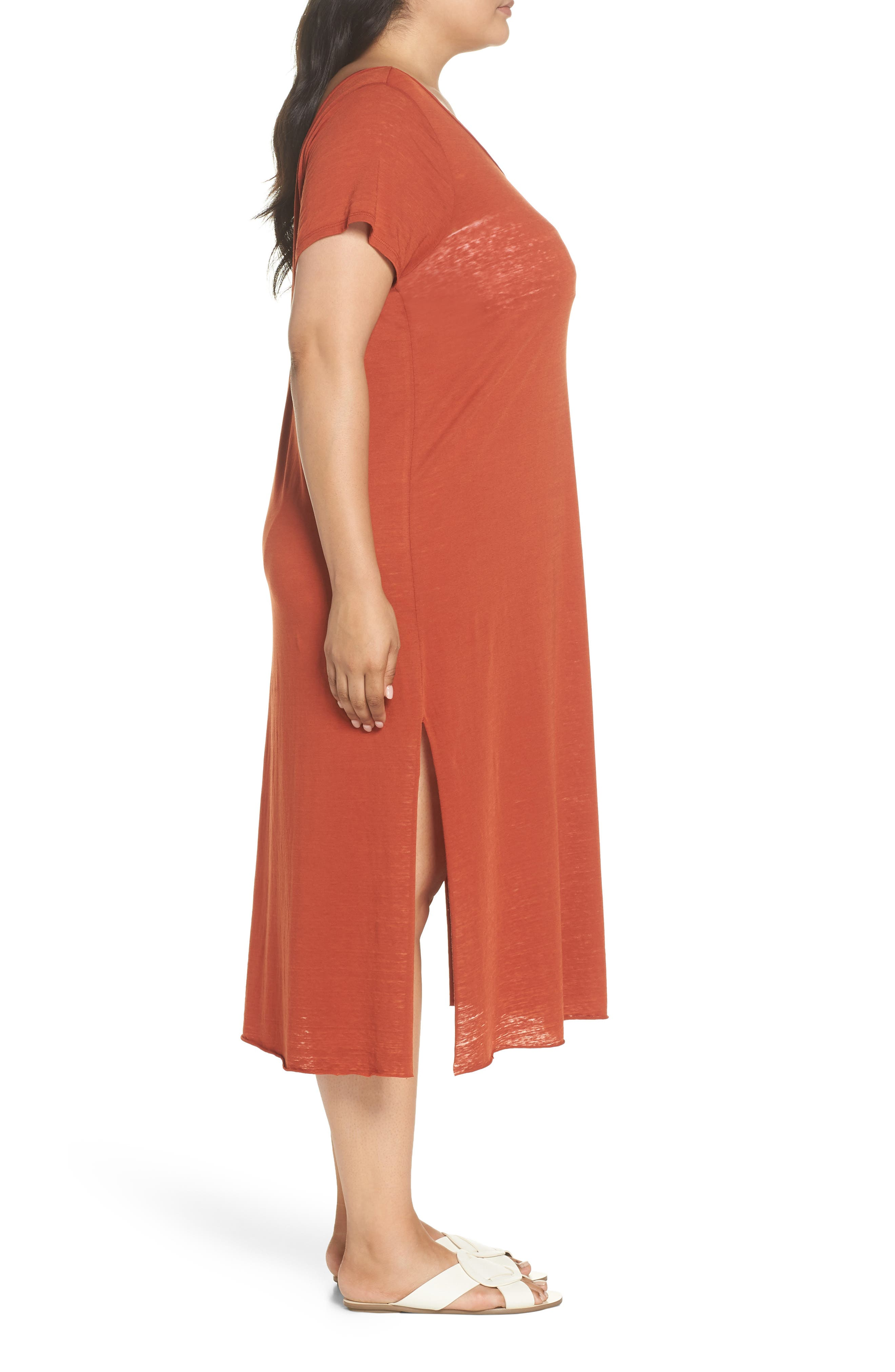 Easy Burnout Cover-Up T-Shirt Dress,                             Alternate thumbnail 3, color,                             221