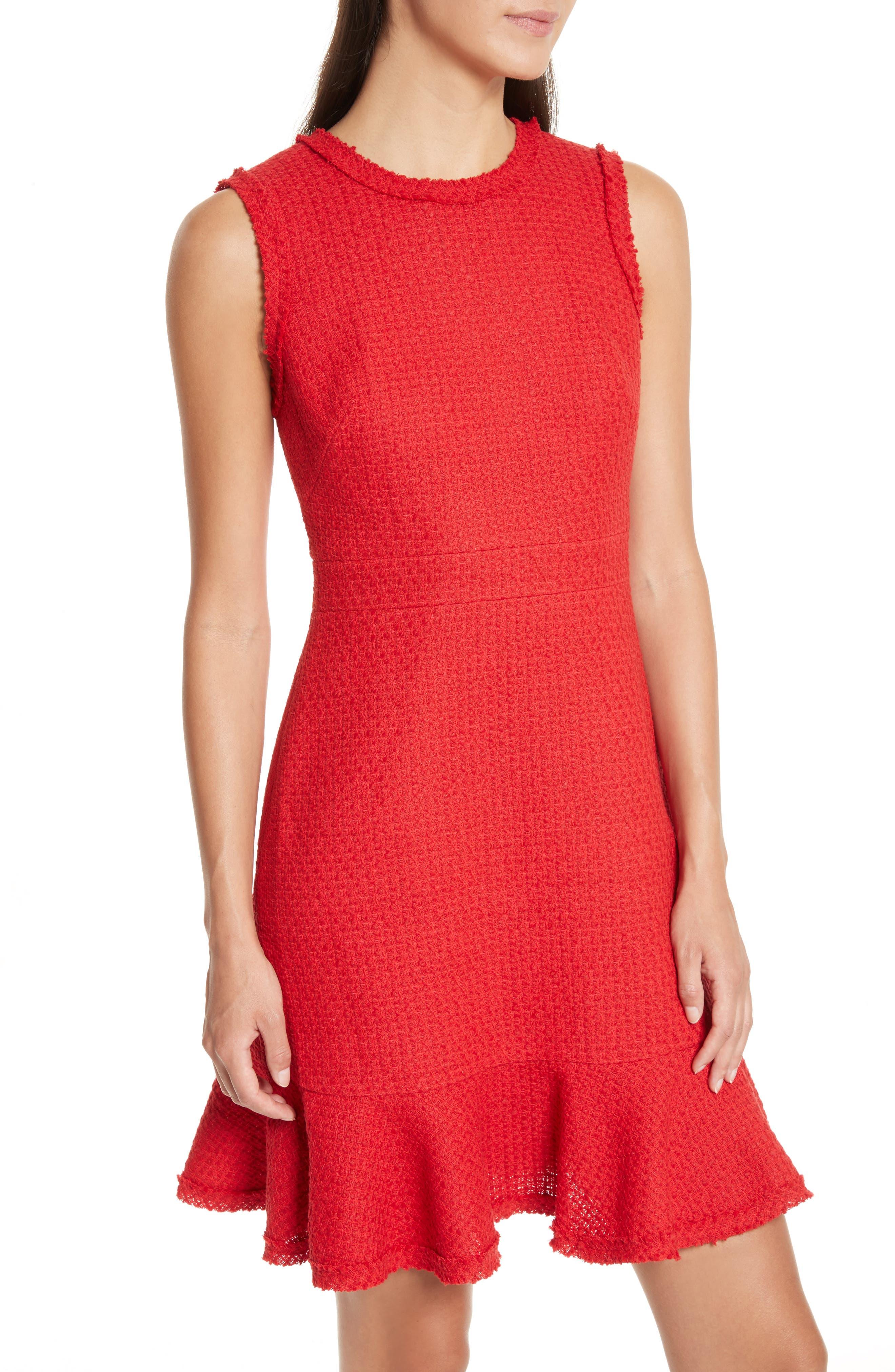 ruffle hem tweed dress,                             Alternate thumbnail 4, color,