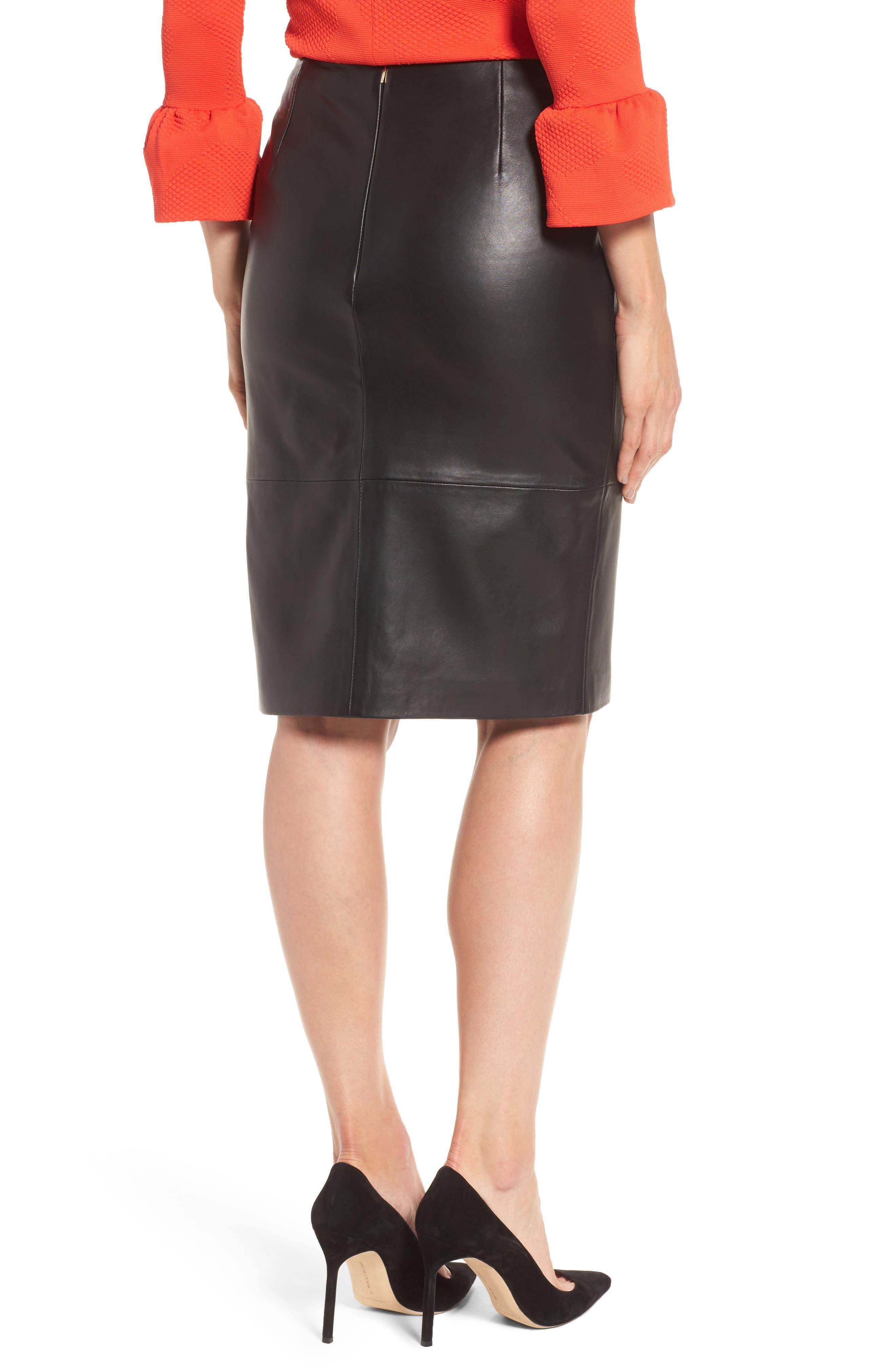 Sepama Leather Pencil Skirt,                             Alternate thumbnail 2, color,                             001