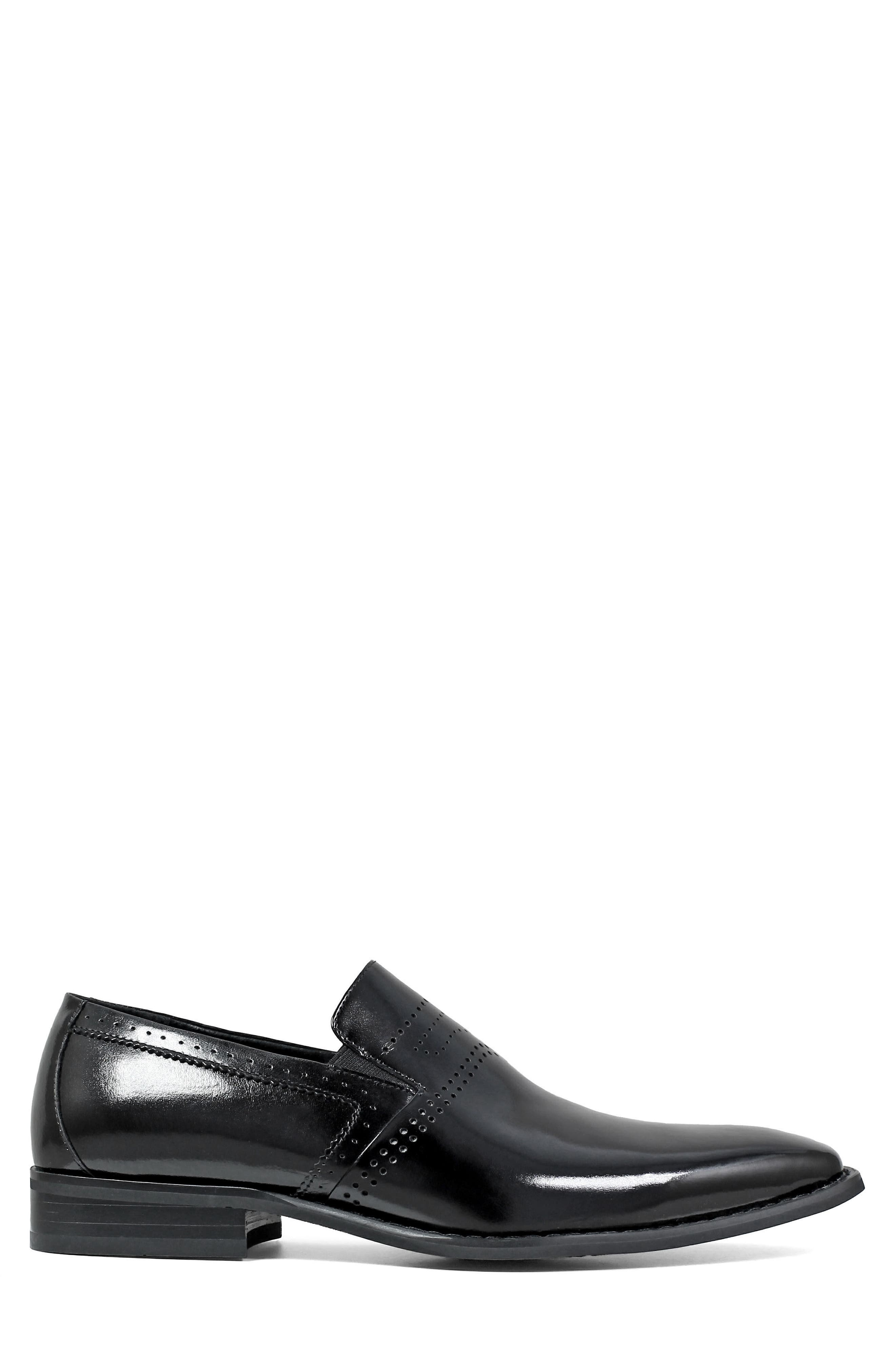 Saunders Perforated Venetian Loafer,                             Alternate thumbnail 3, color,                             BLACK LEATHER