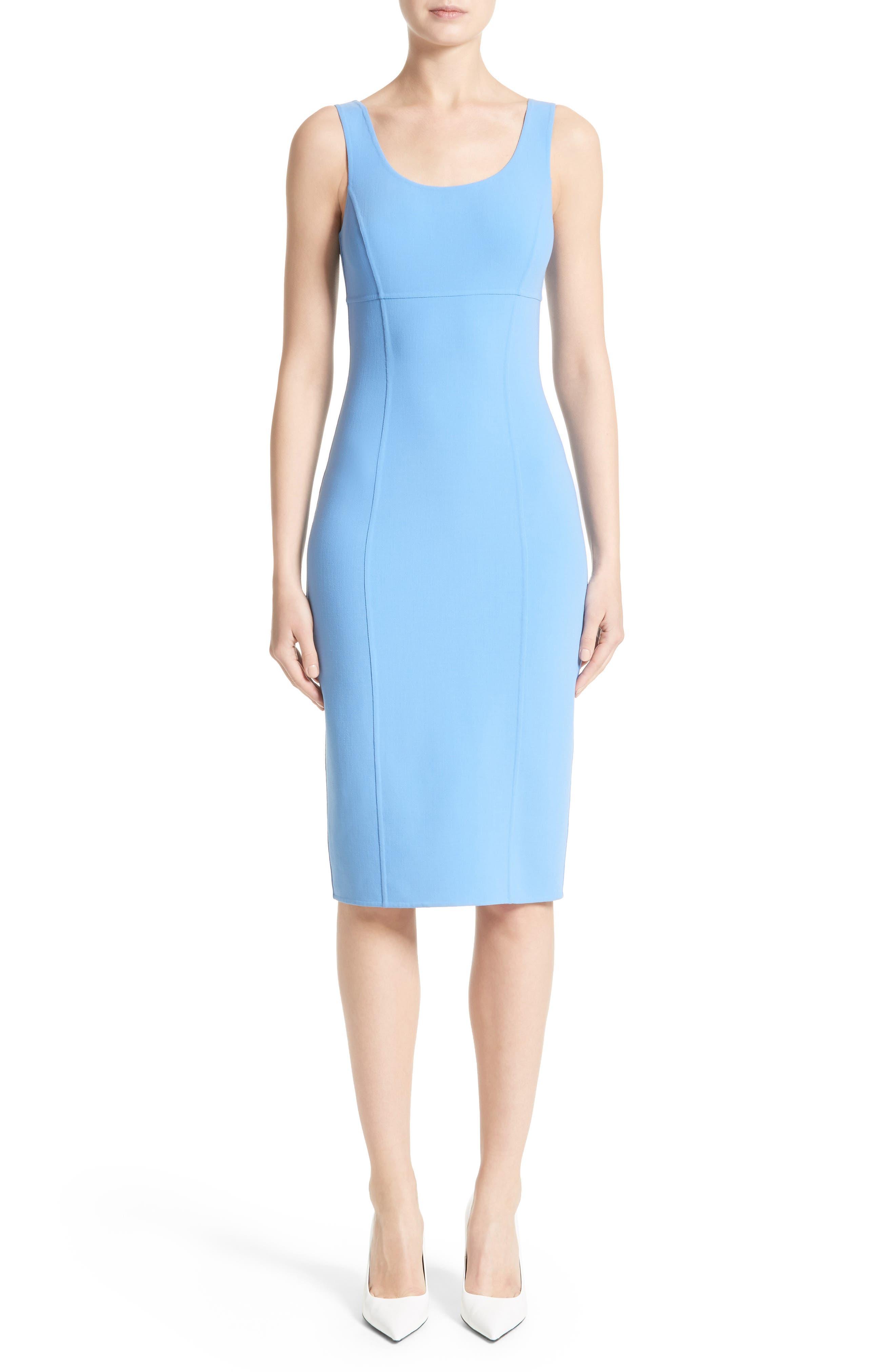 Stretch Wool Crepe Sheath Dress,                             Main thumbnail 1, color,                             495
