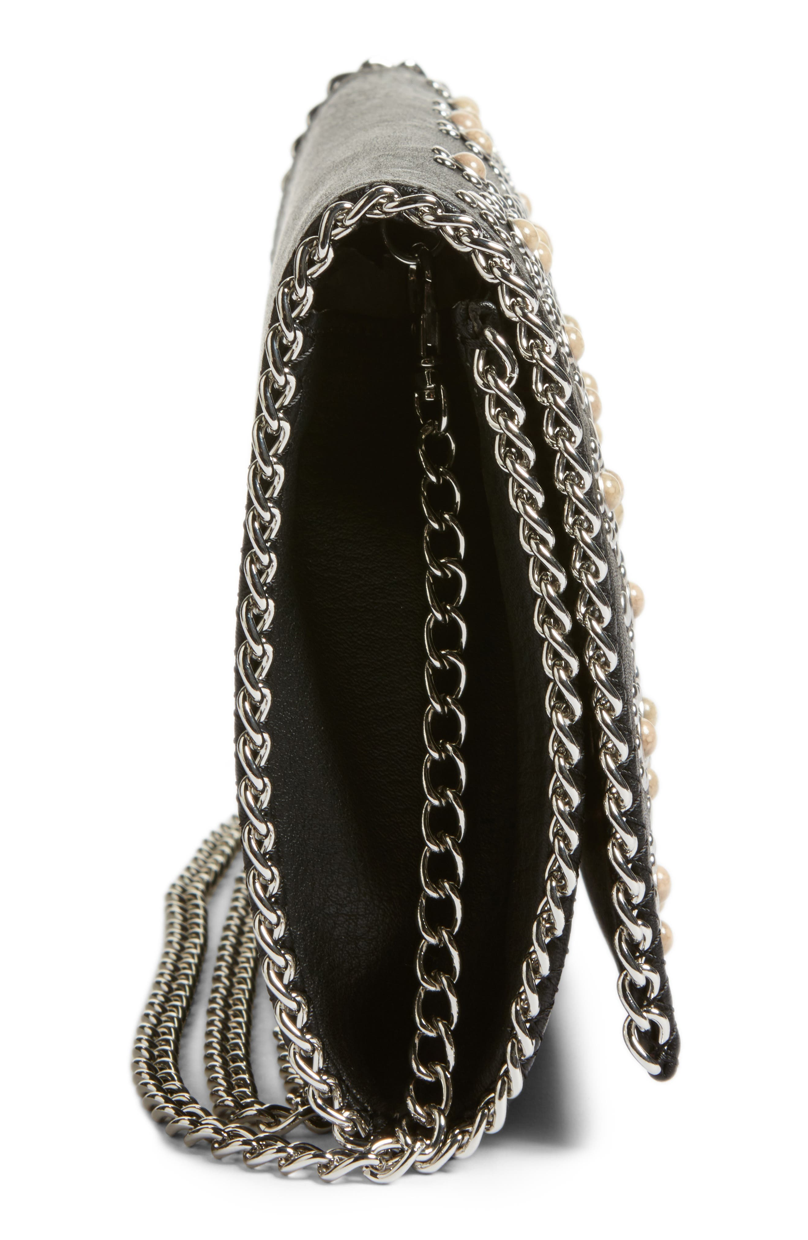 Embellished Faux Leather Convertible Clutch,                             Alternate thumbnail 5, color,                             001