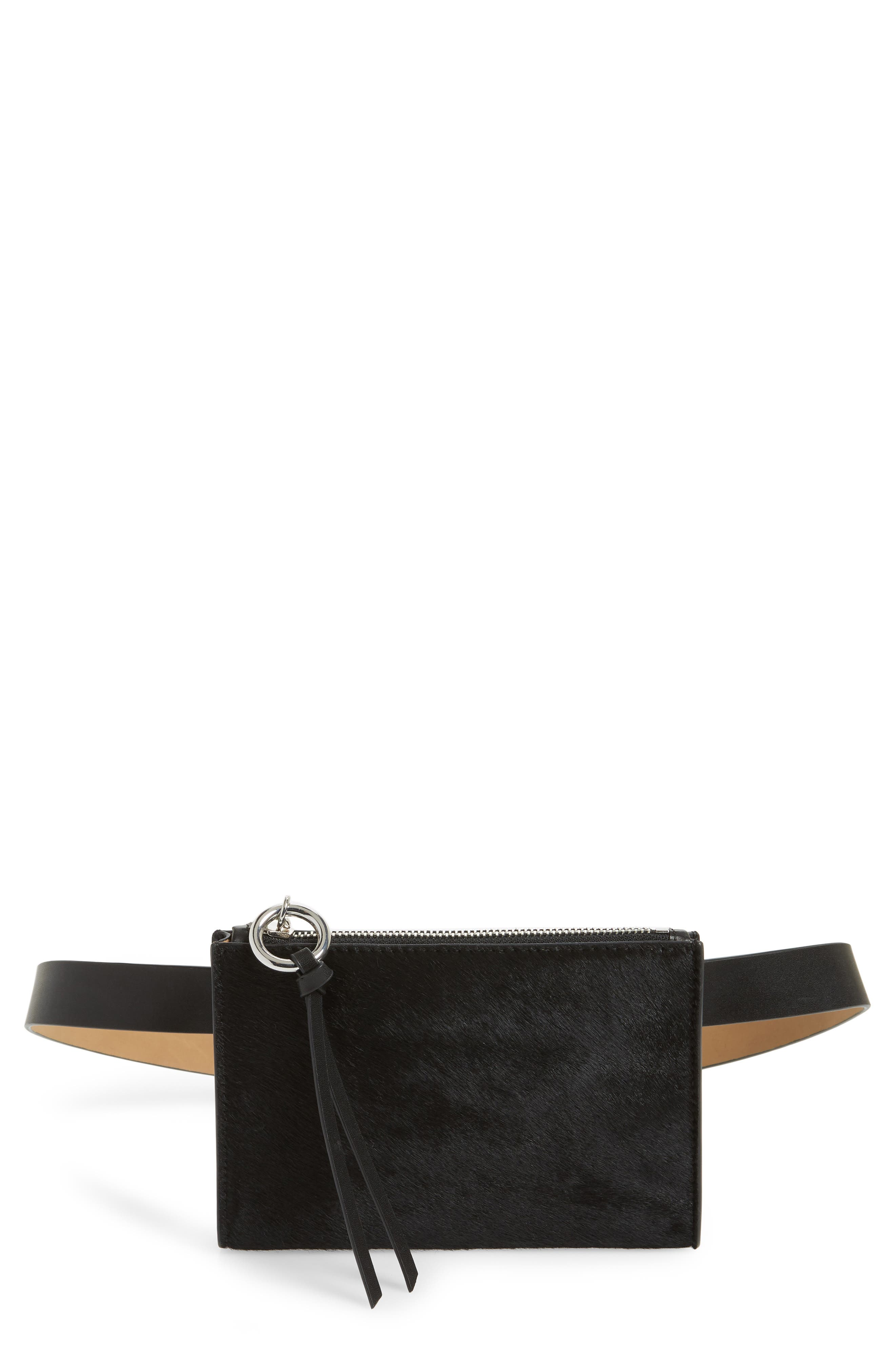 Ava Genuine Calf Hair Belt Bag,                             Main thumbnail 1, color,                             BLACK/ BLACK