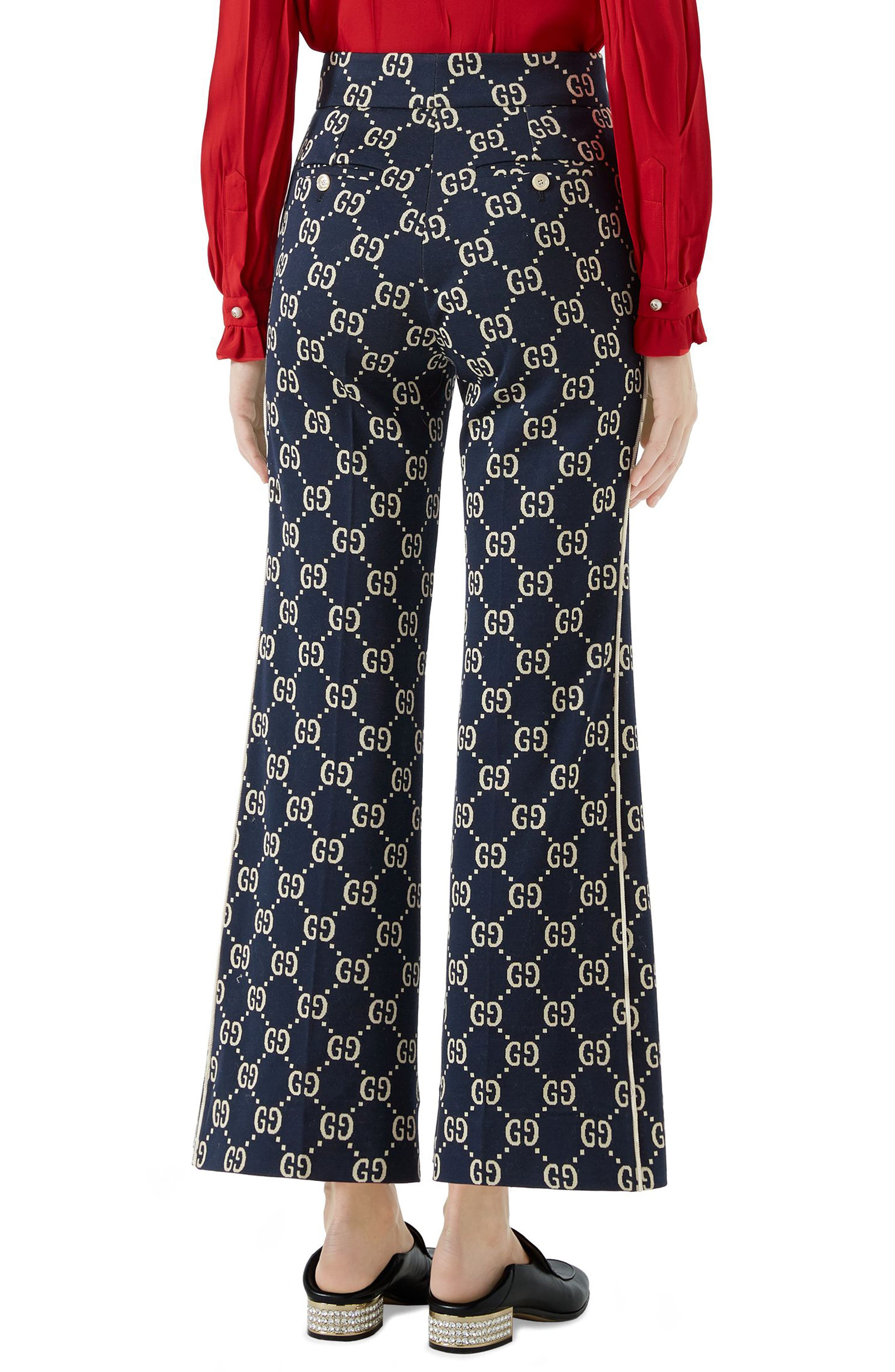 GG Embroidered Jersey Crop Pants,                             Alternate thumbnail 2, color,                             CASPIAN/ BEIGE