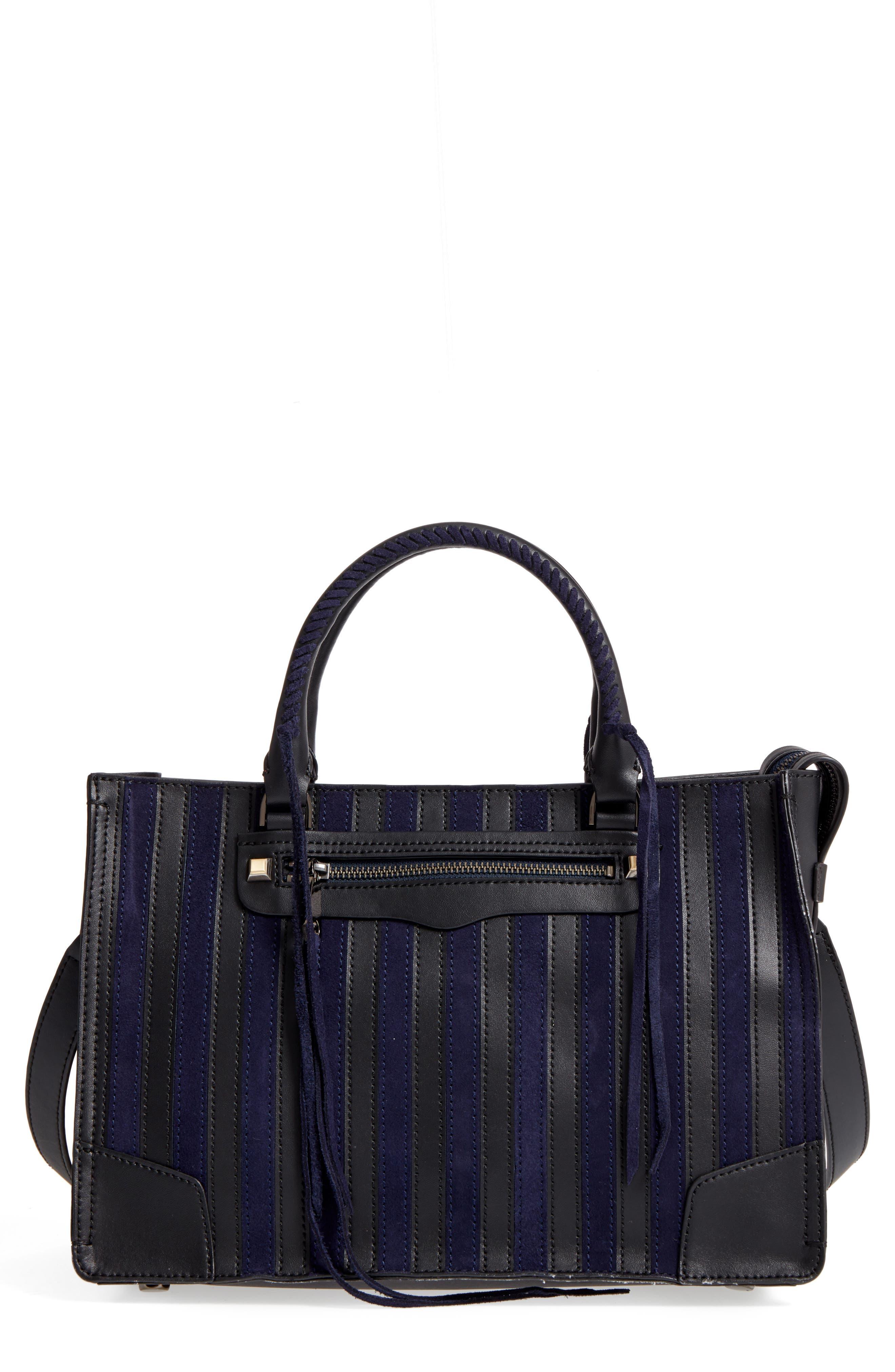 Regan Stripe Leather & Suede Top Handle Satchel,                             Main thumbnail 1, color,                             415