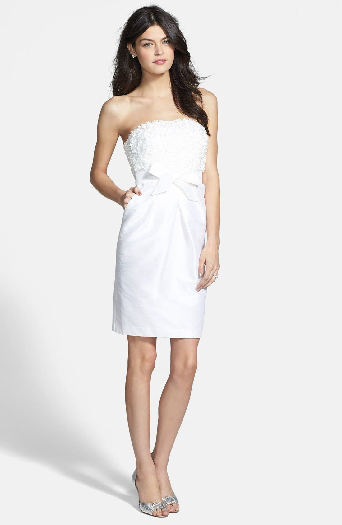 'Gemma' Strapless Rosette Dress,                             Alternate thumbnail 4, color,                             900