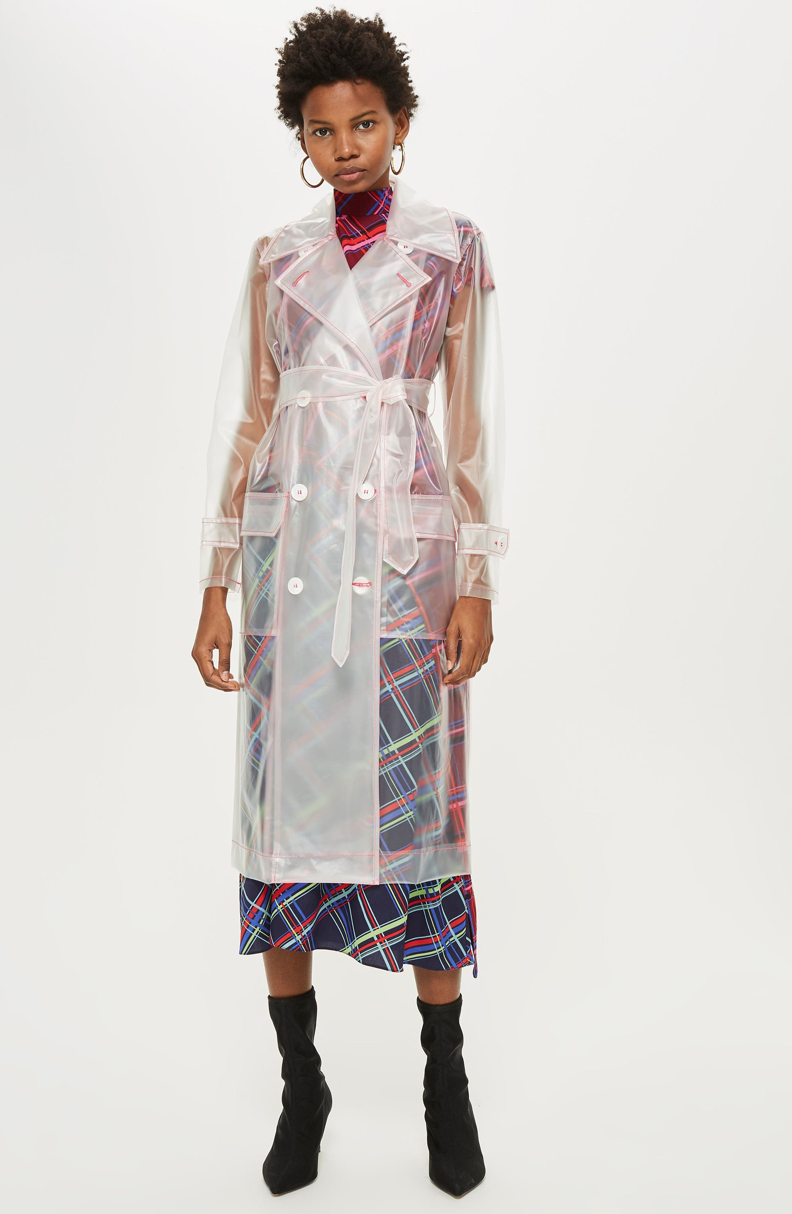 TOPSHOP,                             Frosted Vinyl Mac Trench Coat,                             Alternate thumbnail 6, color,                             100