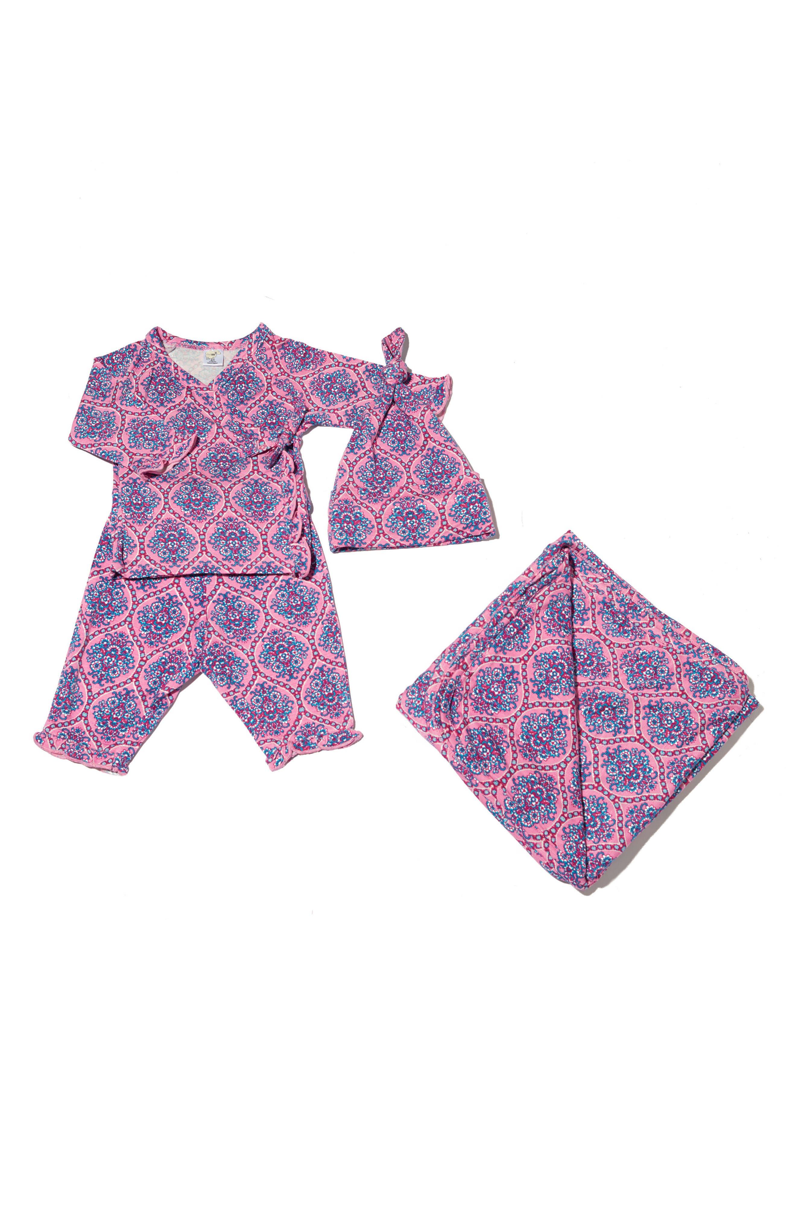 Ruffle Kimono Top, Pants, Hat & Blanket Set,                         Main,                         color, 504