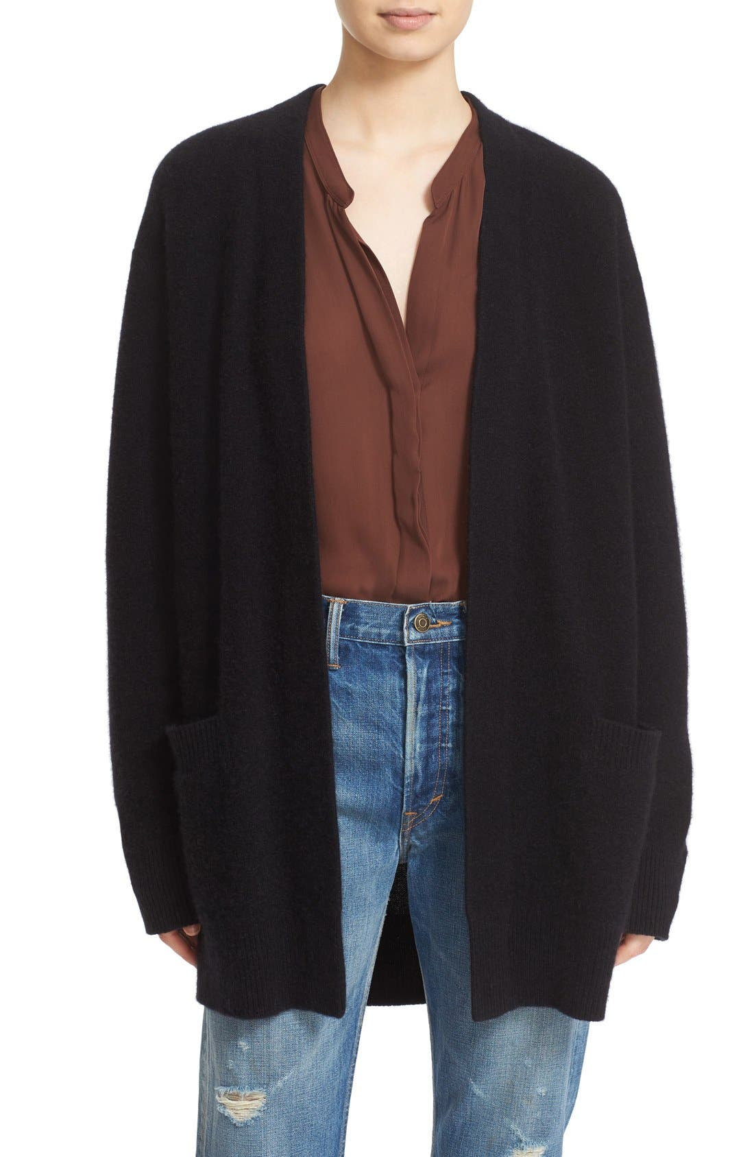 Open Front Cashmere Cardigan,                         Main,                         color, 001