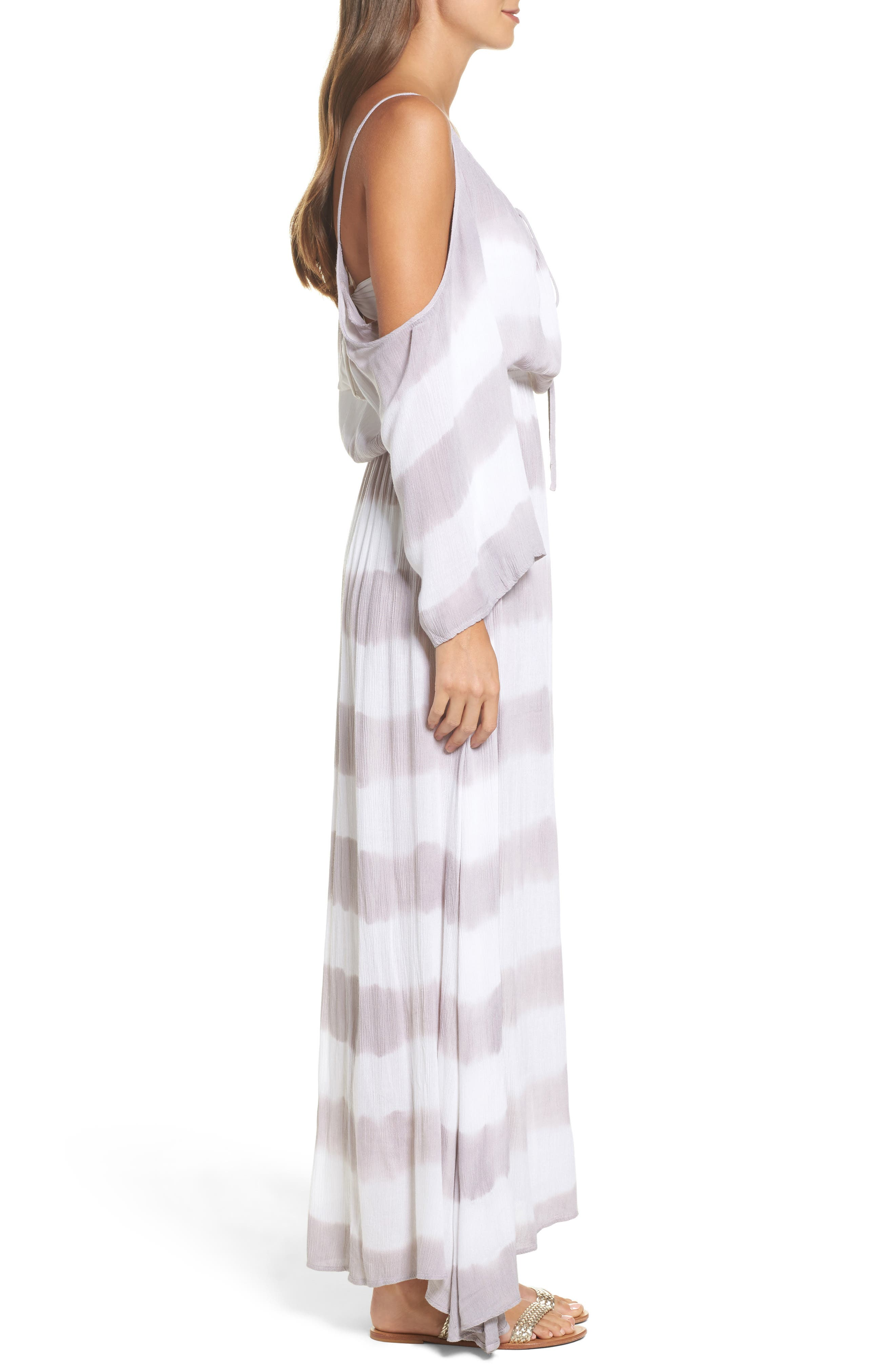 Stripe Maxi Cold Shoulder Dress,                             Alternate thumbnail 3, color,                             032