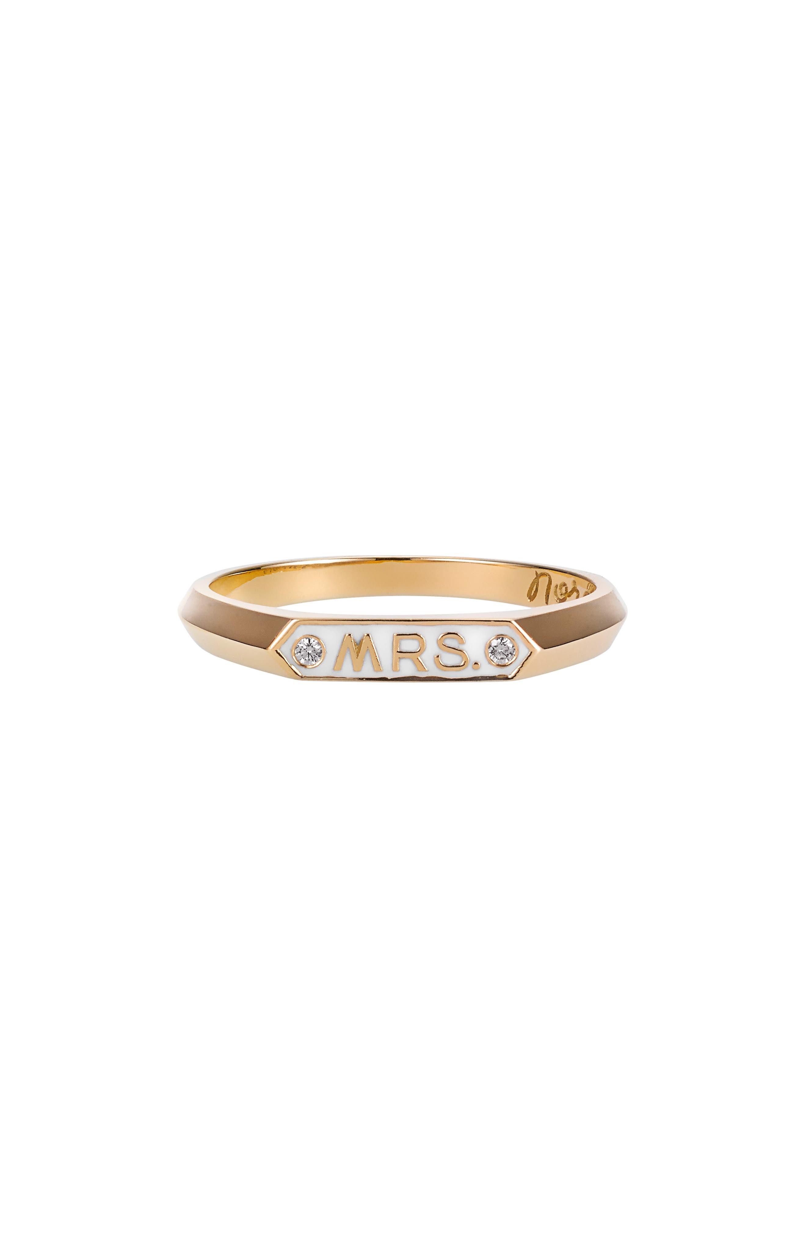 Mrs. Signet Enamel Ring,                         Main,                         color, YELLOW GOLD
