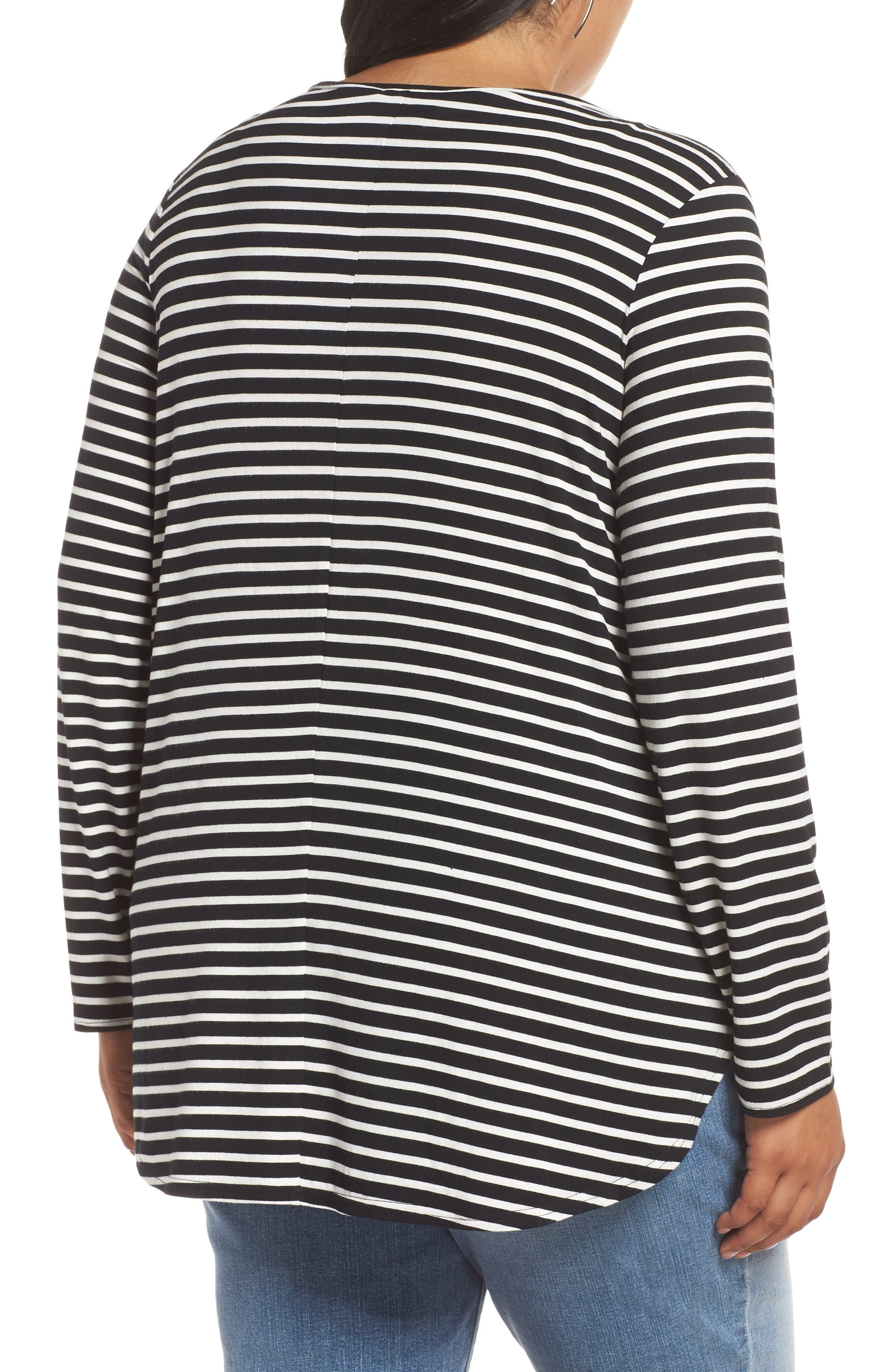 Stripe Tunic,                             Alternate thumbnail 2, color,                             BLACK- IVORY ELAINA STRIPE