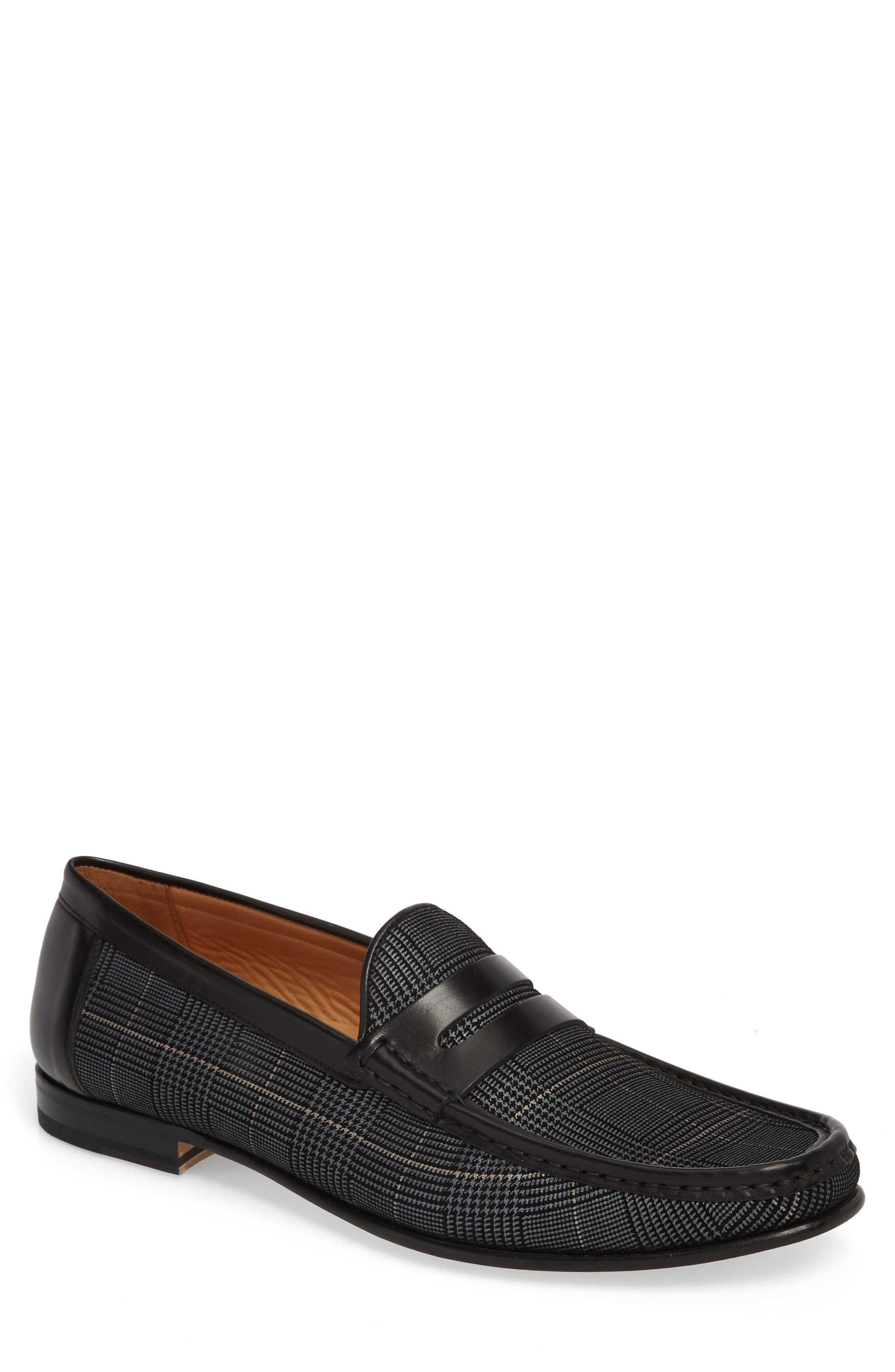 Lares I Houndstooth Penny Loafer,                             Main thumbnail 1, color,                             BLACK SUEDE/ LEATHER