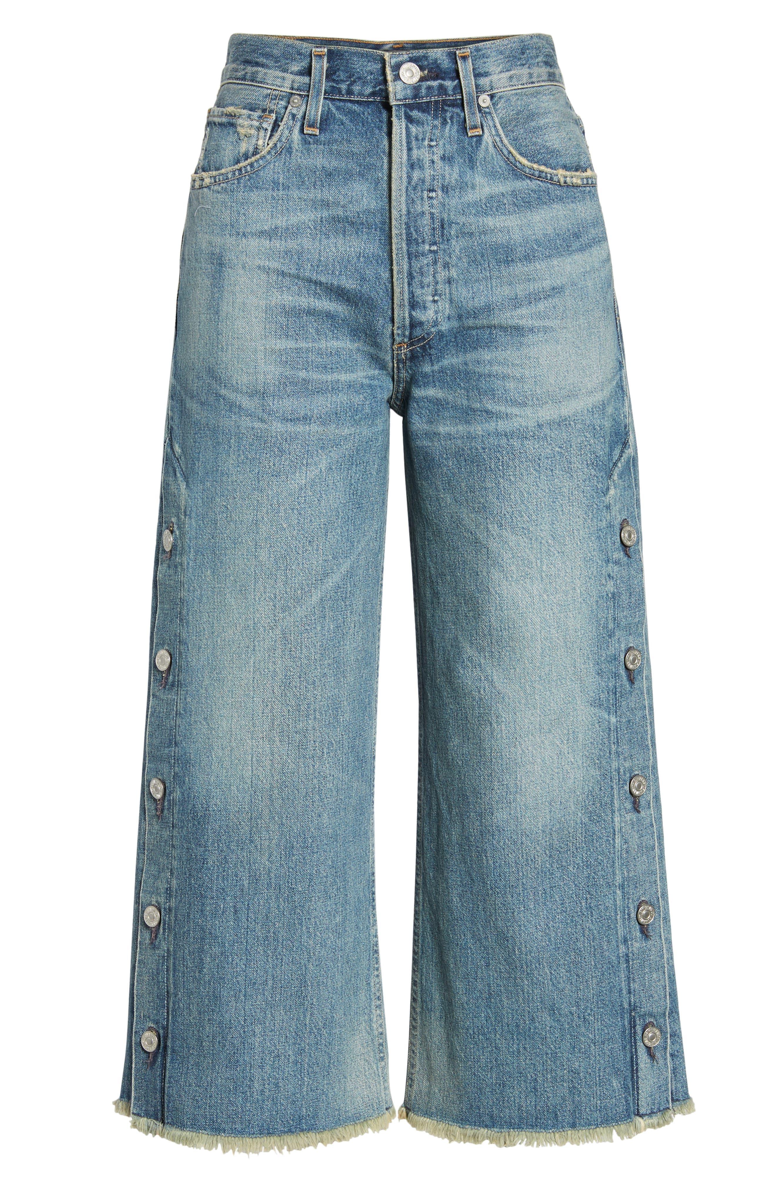 Emma High Waist Crop Wide Leg Jeans,                             Alternate thumbnail 7, color,                             428