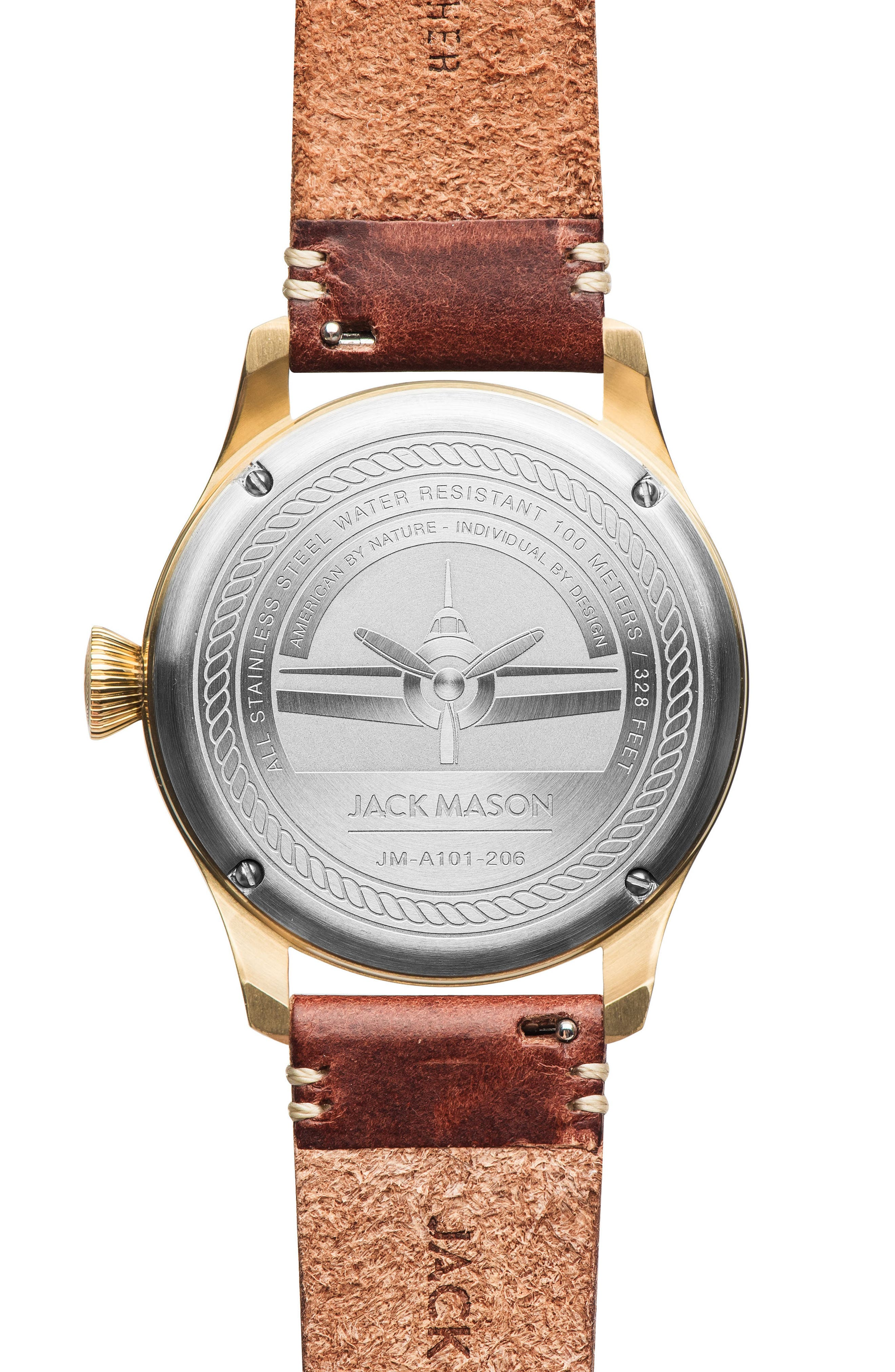 Aviation Leather Strap Watch, 42mm,                             Alternate thumbnail 2, color,                             200