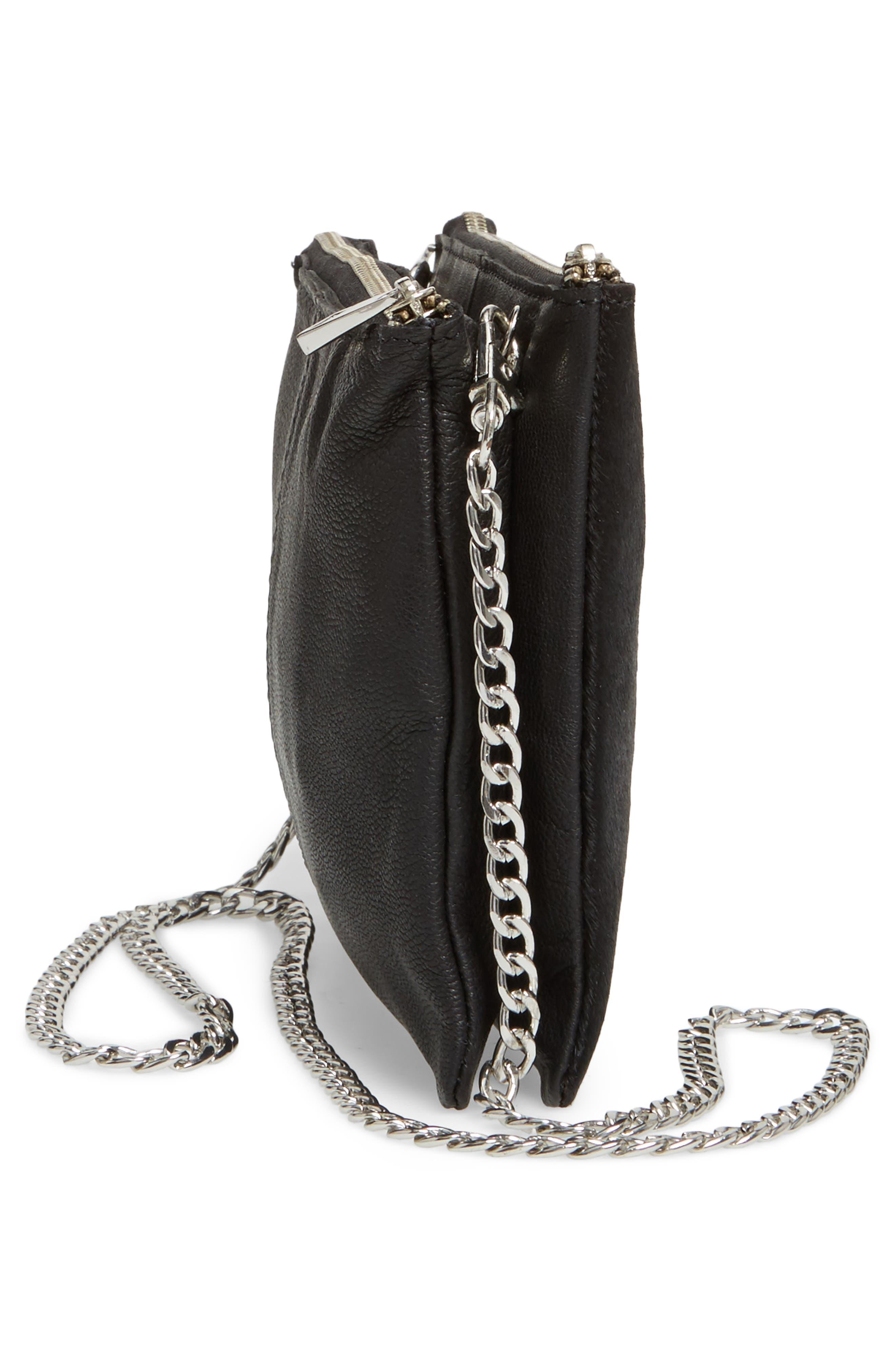 Oakley Leather & Genuine Calf Hair Crossbody Bag,                             Alternate thumbnail 5, color,                             001