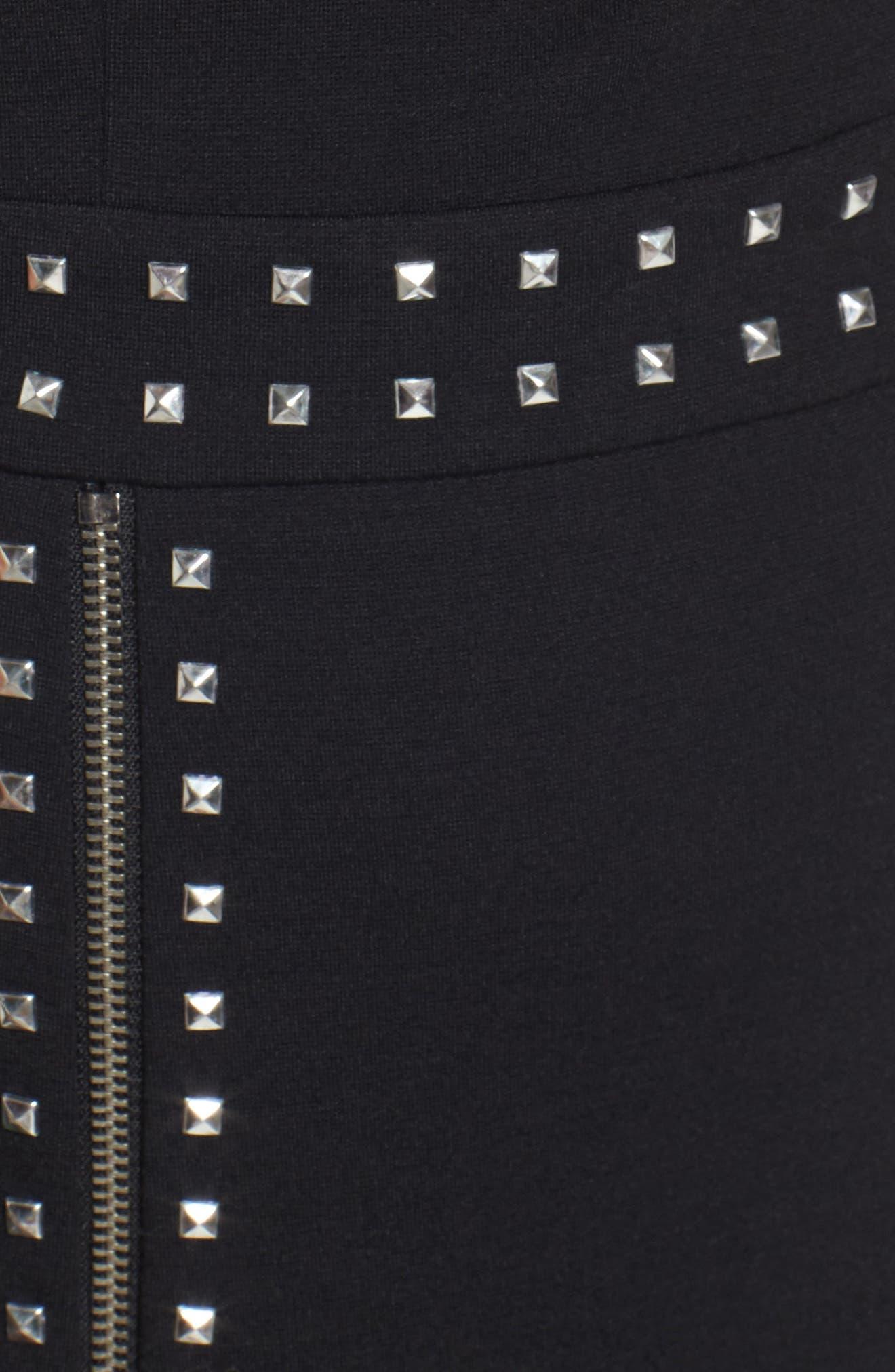 Pyramid Stud Zipper Detail Dress,                             Alternate thumbnail 5, color,                             001