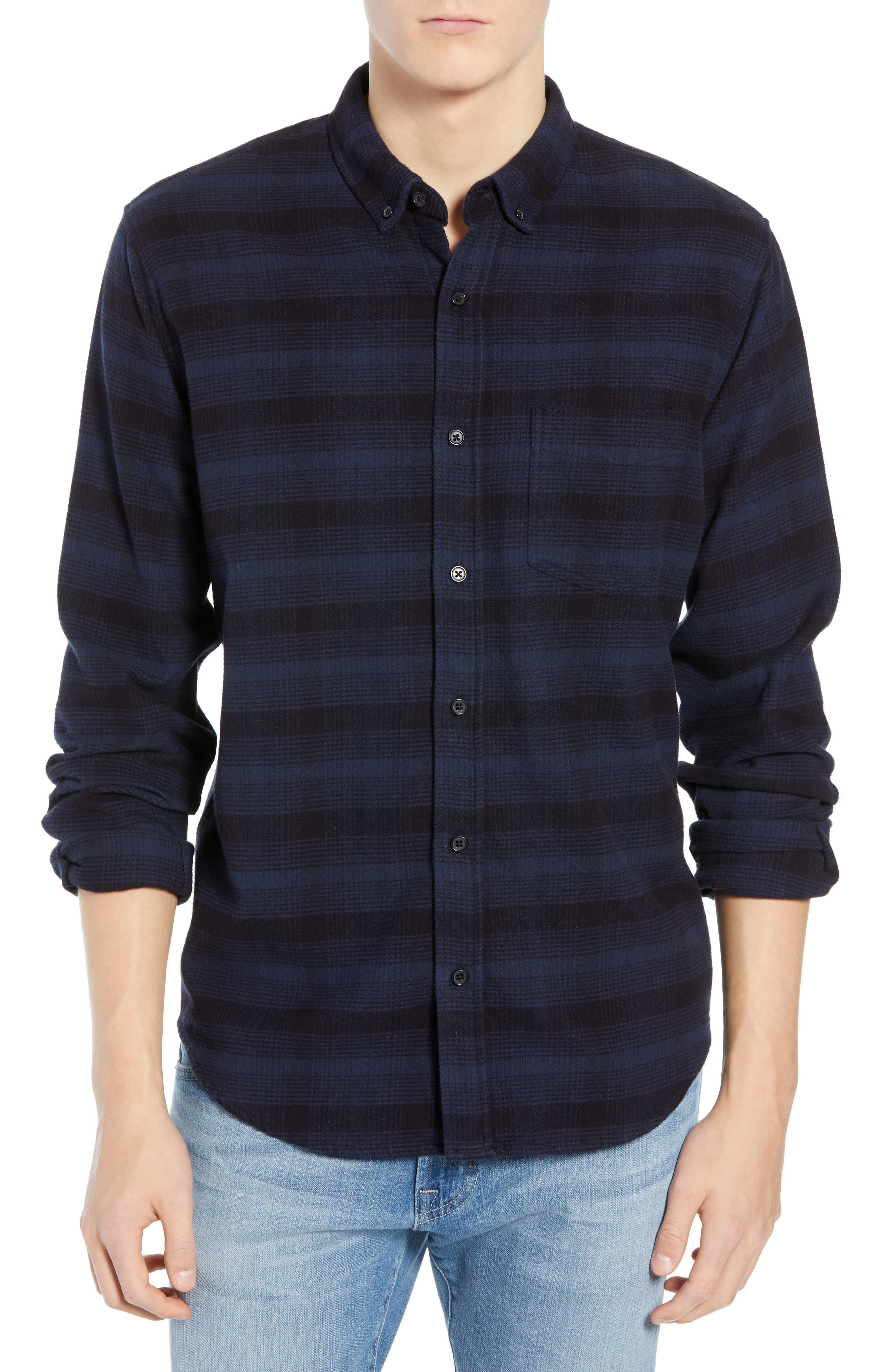 Rails Forrest Regular Fit Plaid Flannel Sport Shirt, Black