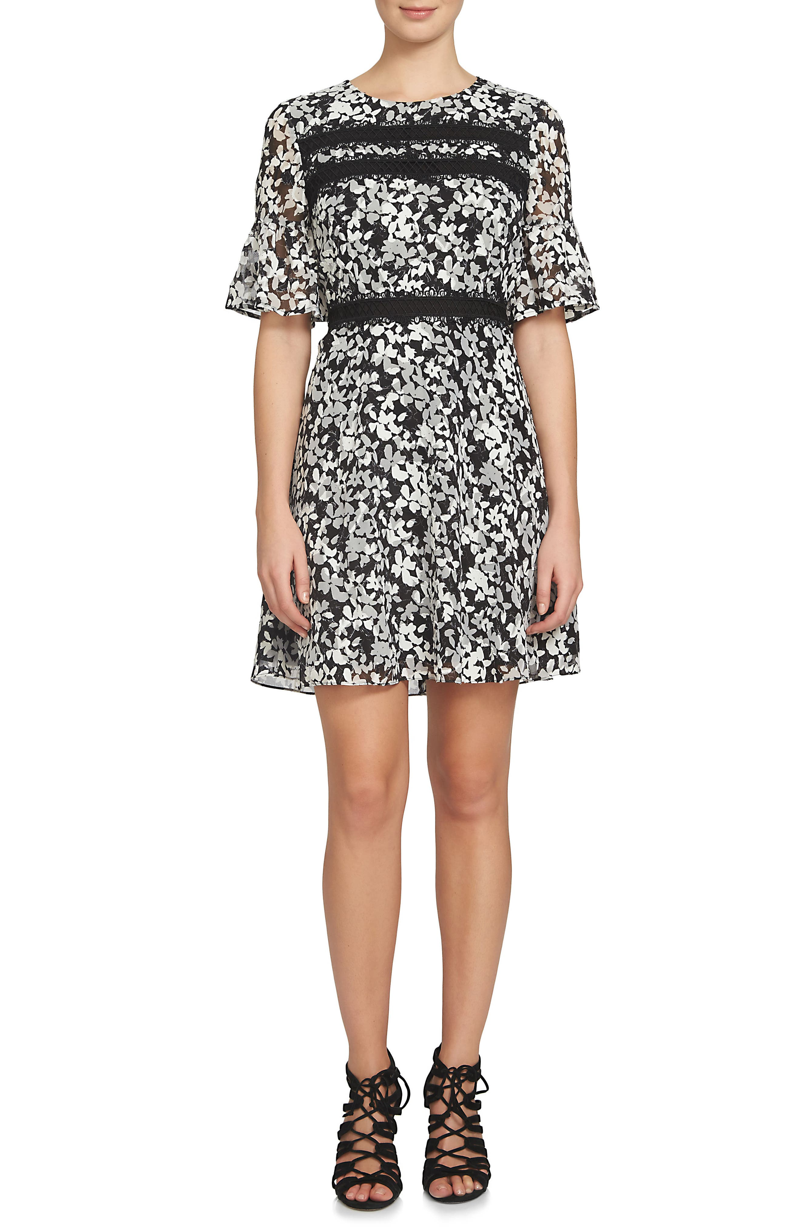 Alayna Floral Fit & Flare Dress,                             Alternate thumbnail 3, color,                             006