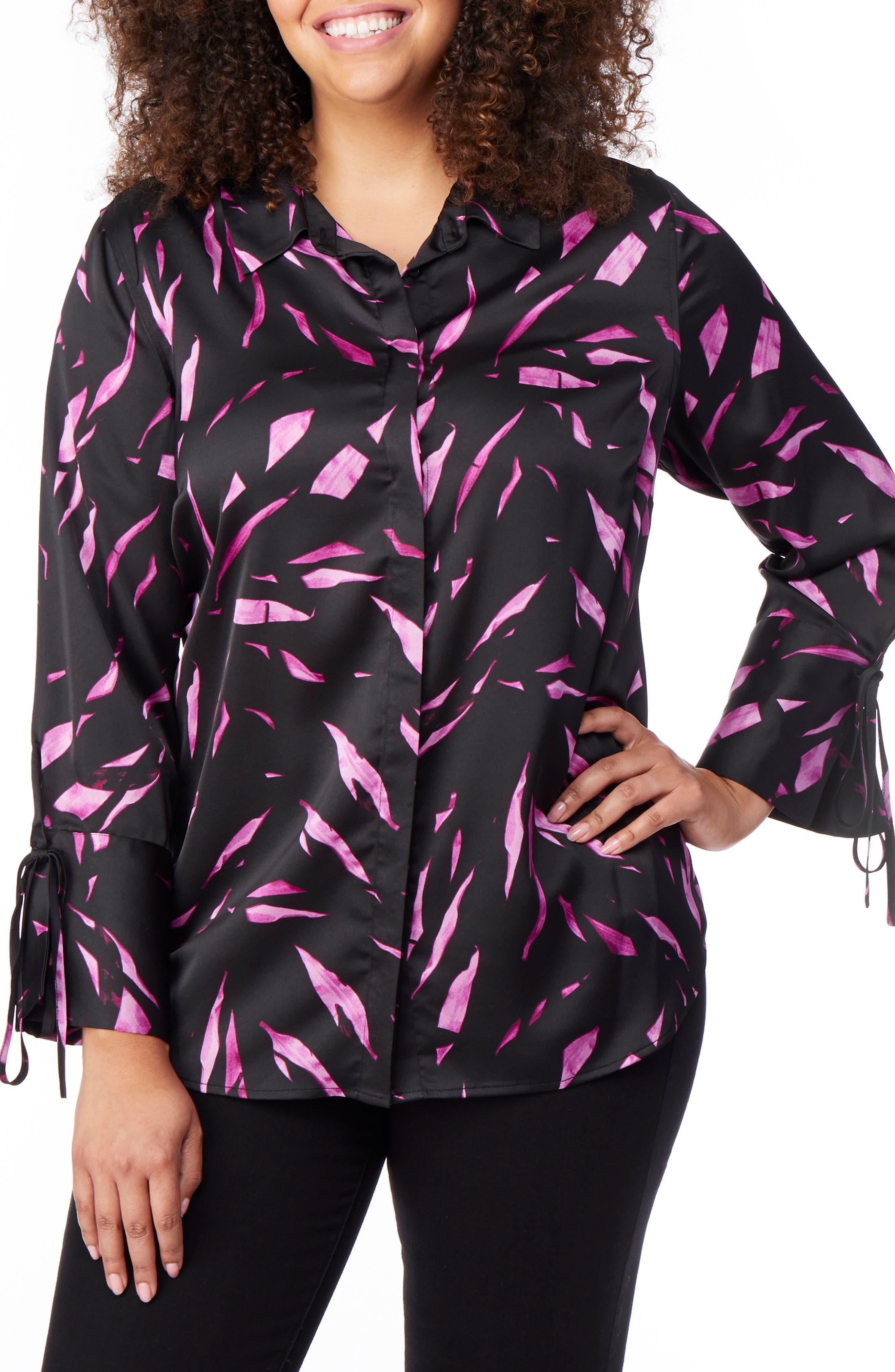 Tie Sleeve Print Shirt,                         Main,                         color, FALLING LEAVES