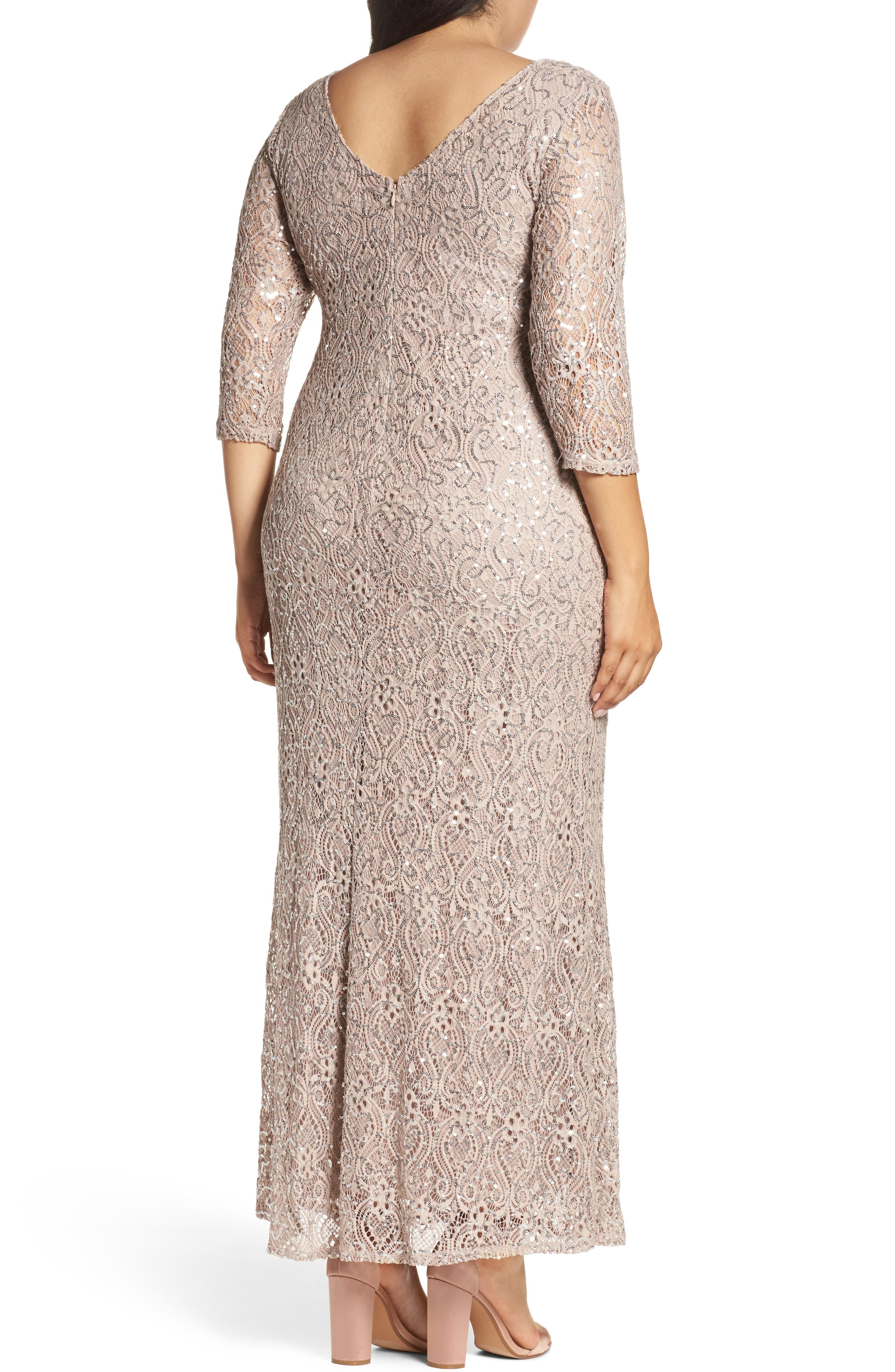 Sequin Lace A-Line Gown,                             Alternate thumbnail 2, color,                             TAUPE