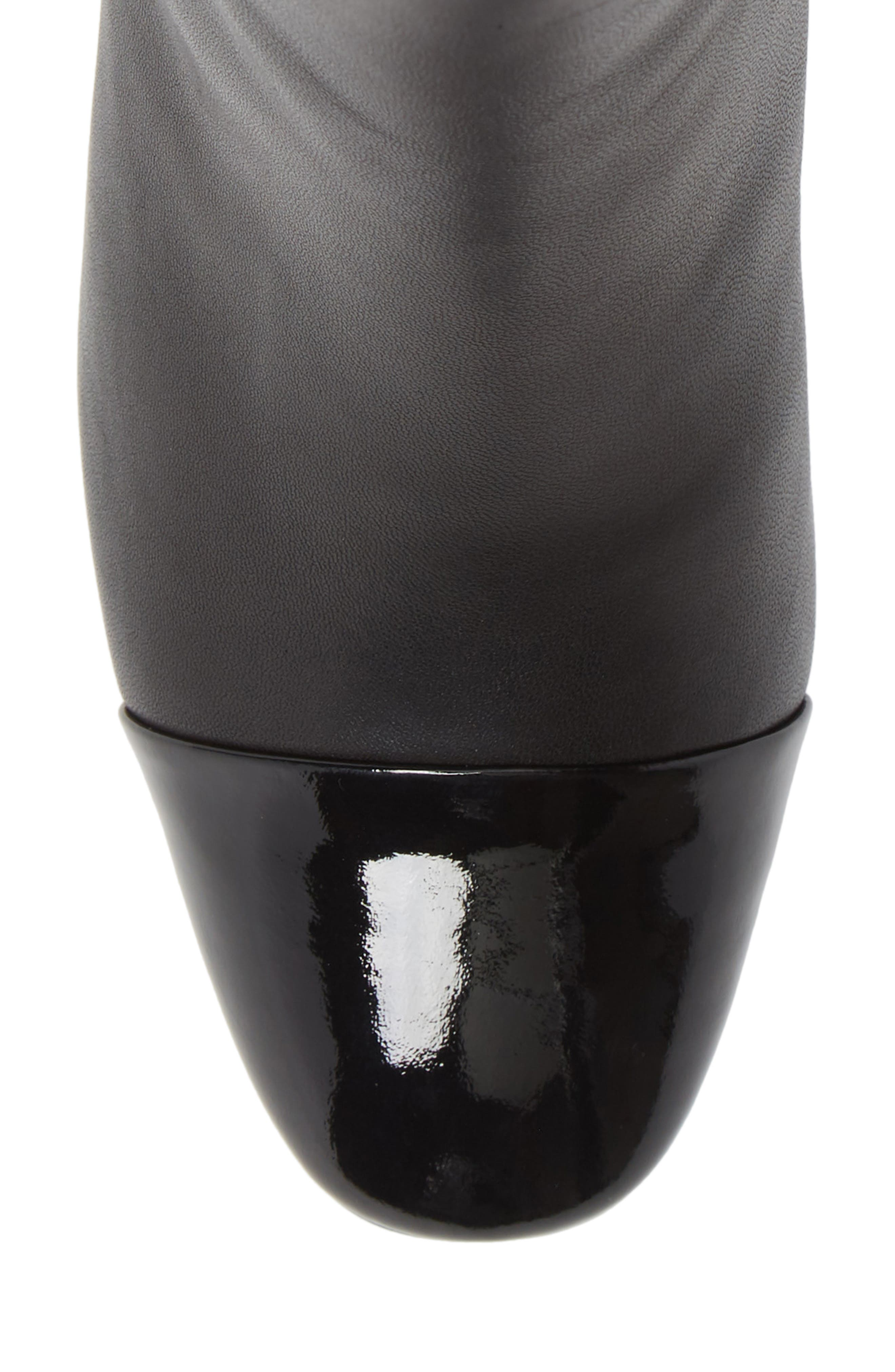 Stella Cap Toe Bootie,                             Alternate thumbnail 5, color,                             BLACK MATTE LEATHER