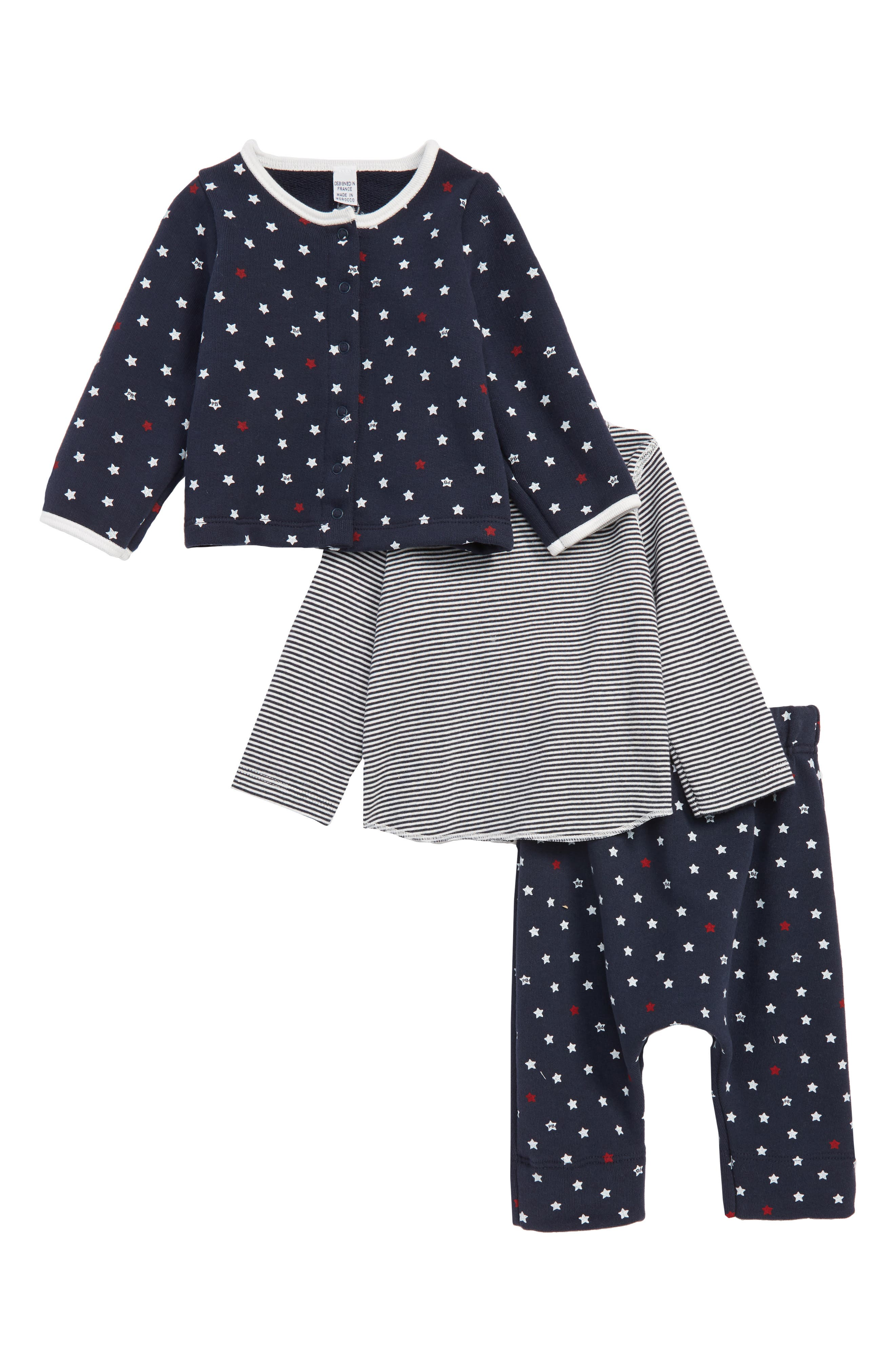 Takumi Cardigan, Tee & Pants,                             Main thumbnail 1, color,                             NAVY