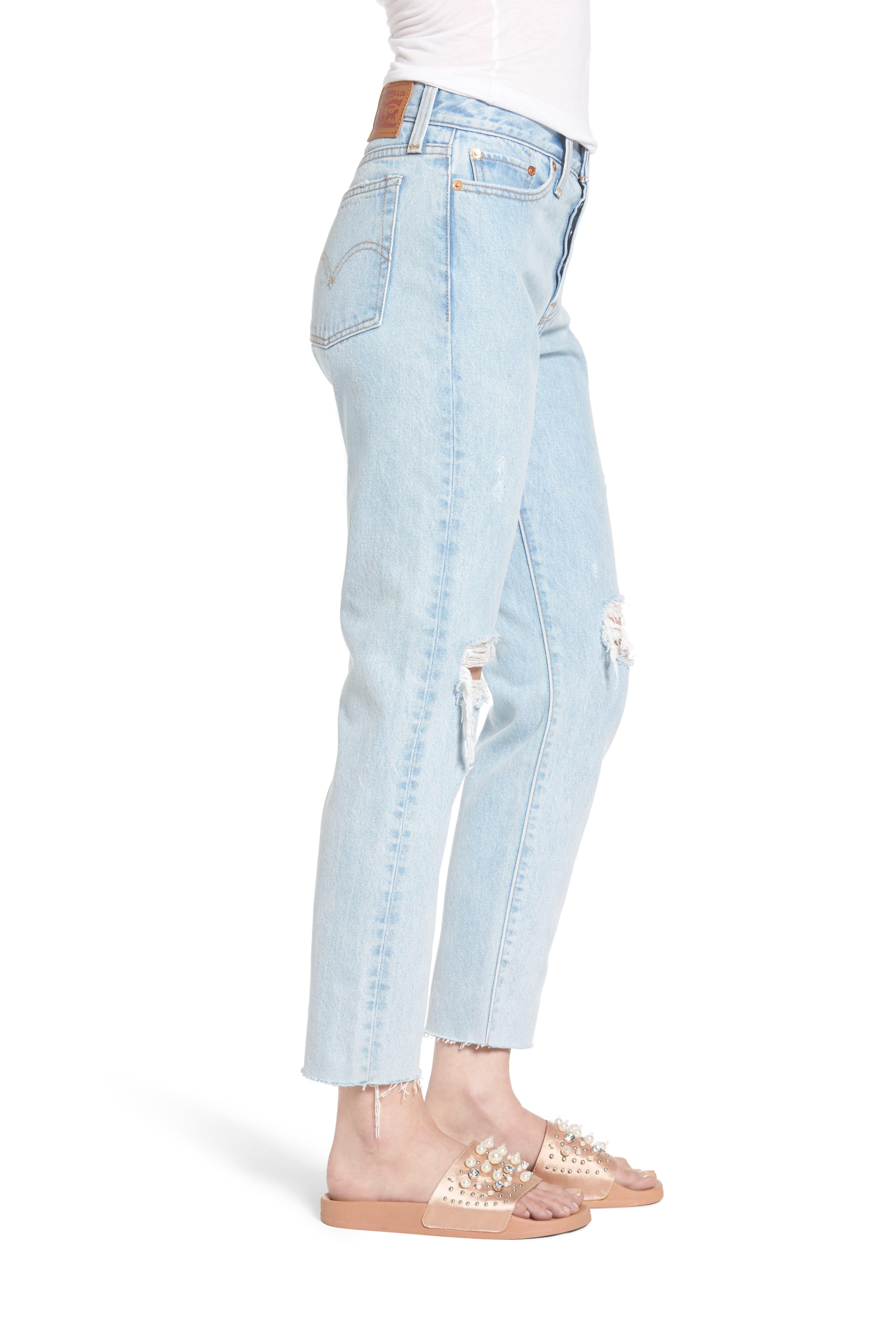 Wedgie High Waist Crop Jeans,                             Alternate thumbnail 3, color,                             450