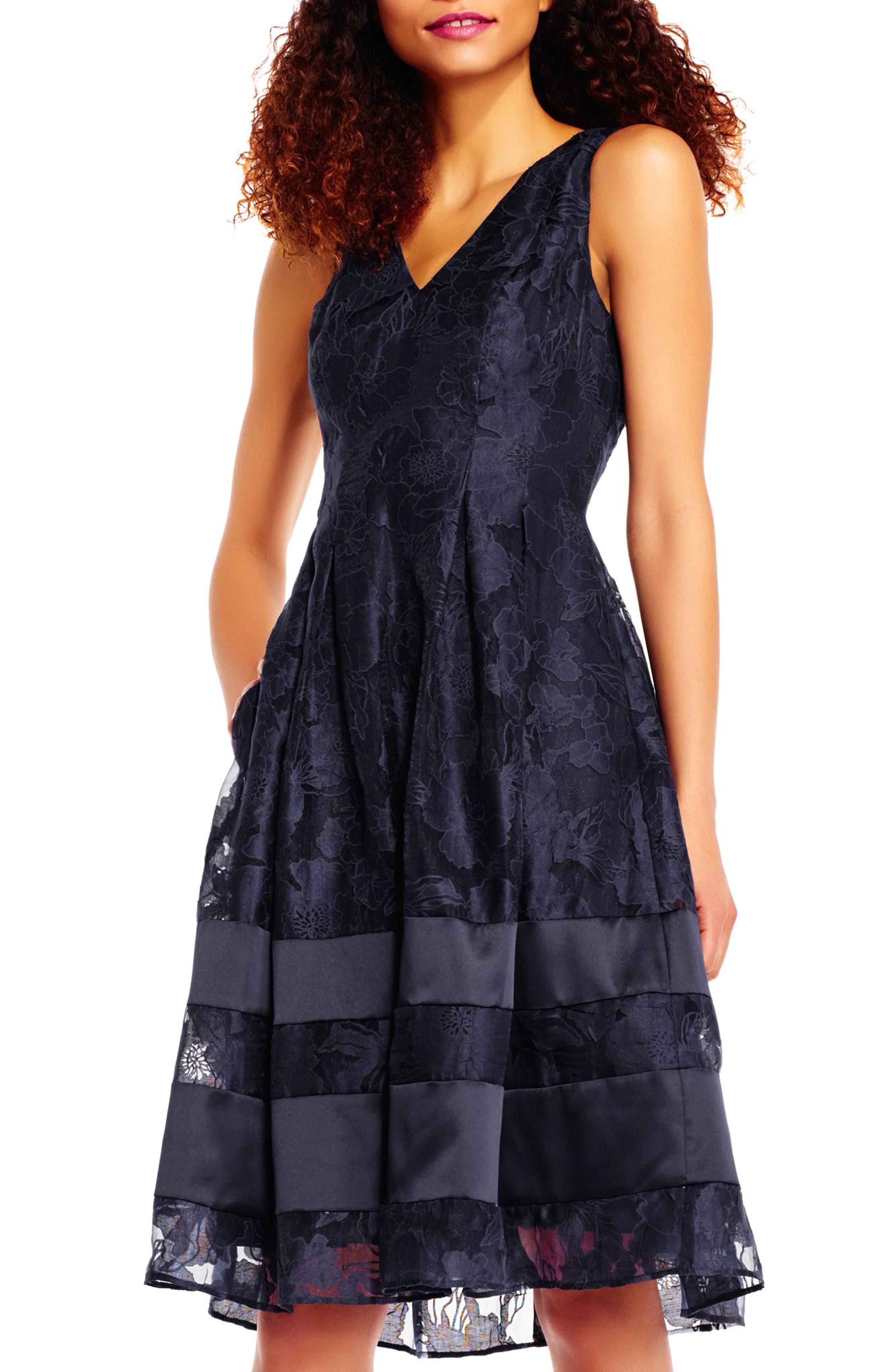 Lace Fit & Flare Dress,                             Alternate thumbnail 5, color,                             480