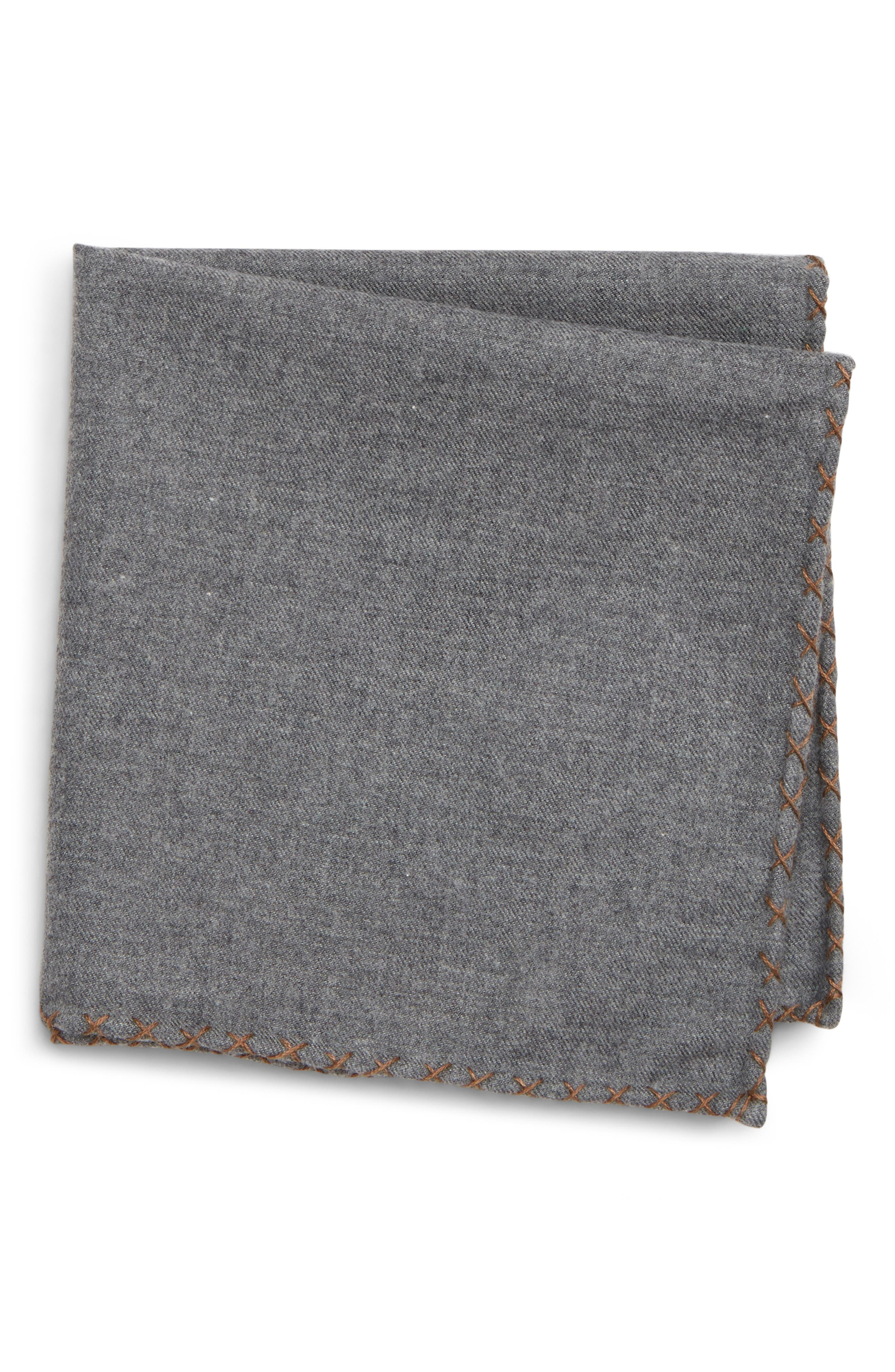 Solid Cotton Pocket Square,                         Main,                         color, GREY/ CAMEL