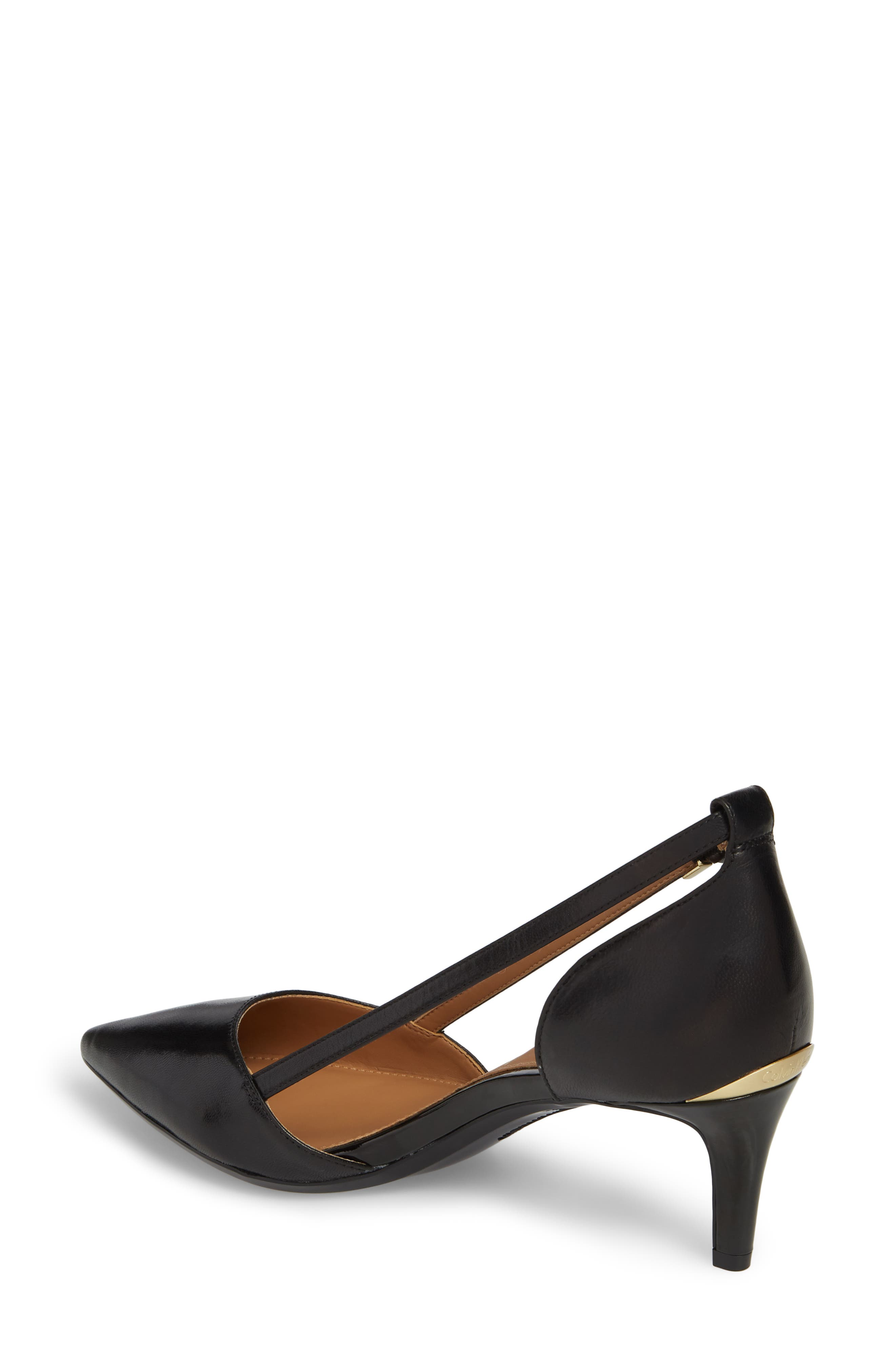 Pashka Strappy Open Sided Pump,                             Alternate thumbnail 2, color,                             BLACK LEATHER