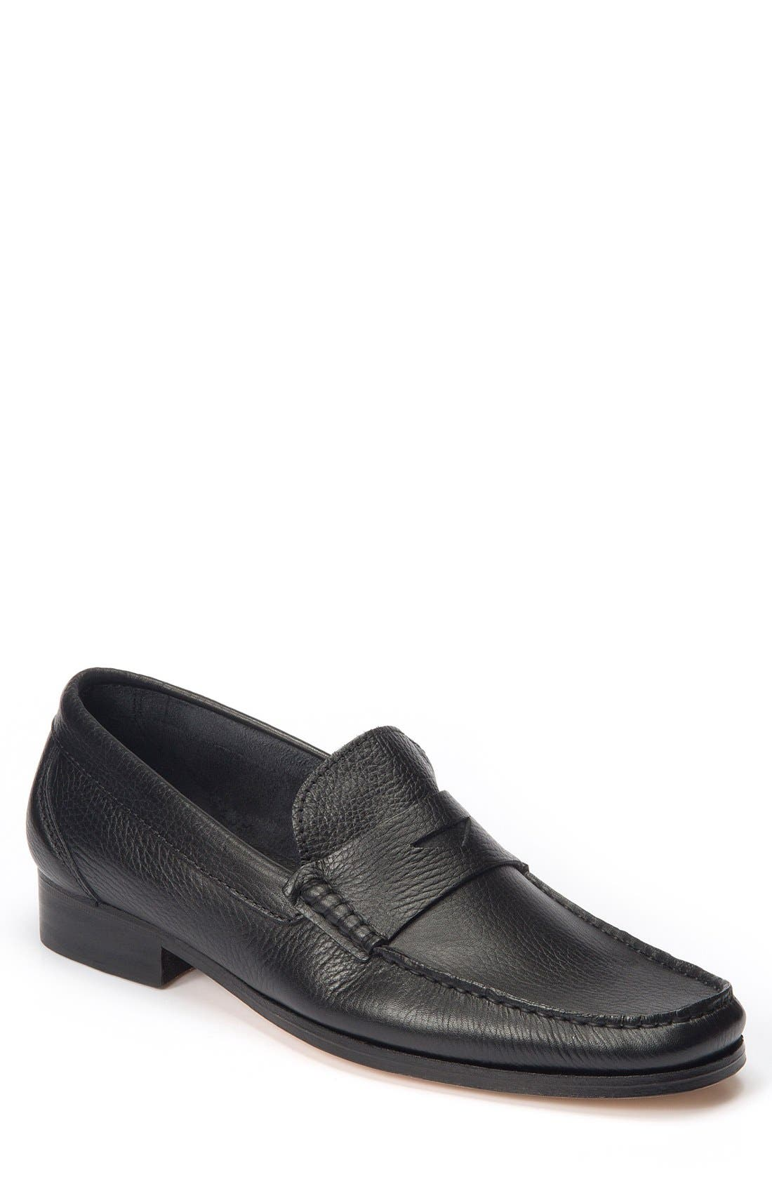 Segovia Penny Loafer,                         Main,                         color, BLACK LEATHER