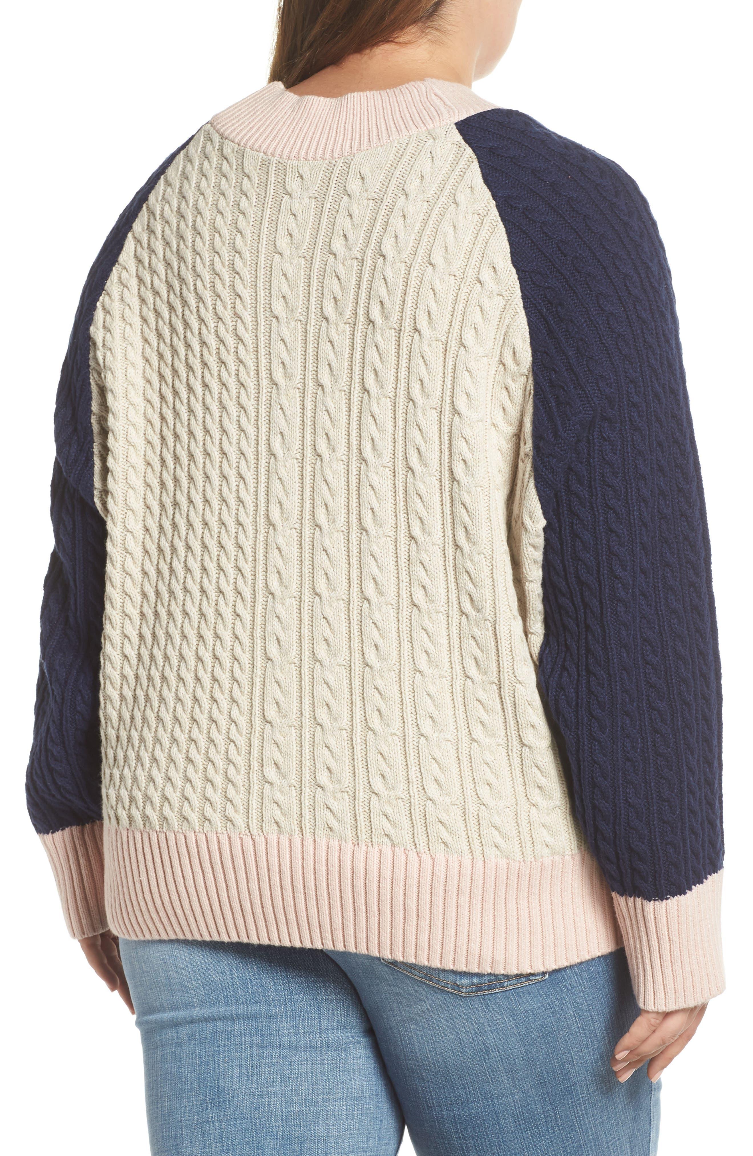 Colorblock Cable Knit Button Cardigan,                             Alternate thumbnail 2, color,                             900