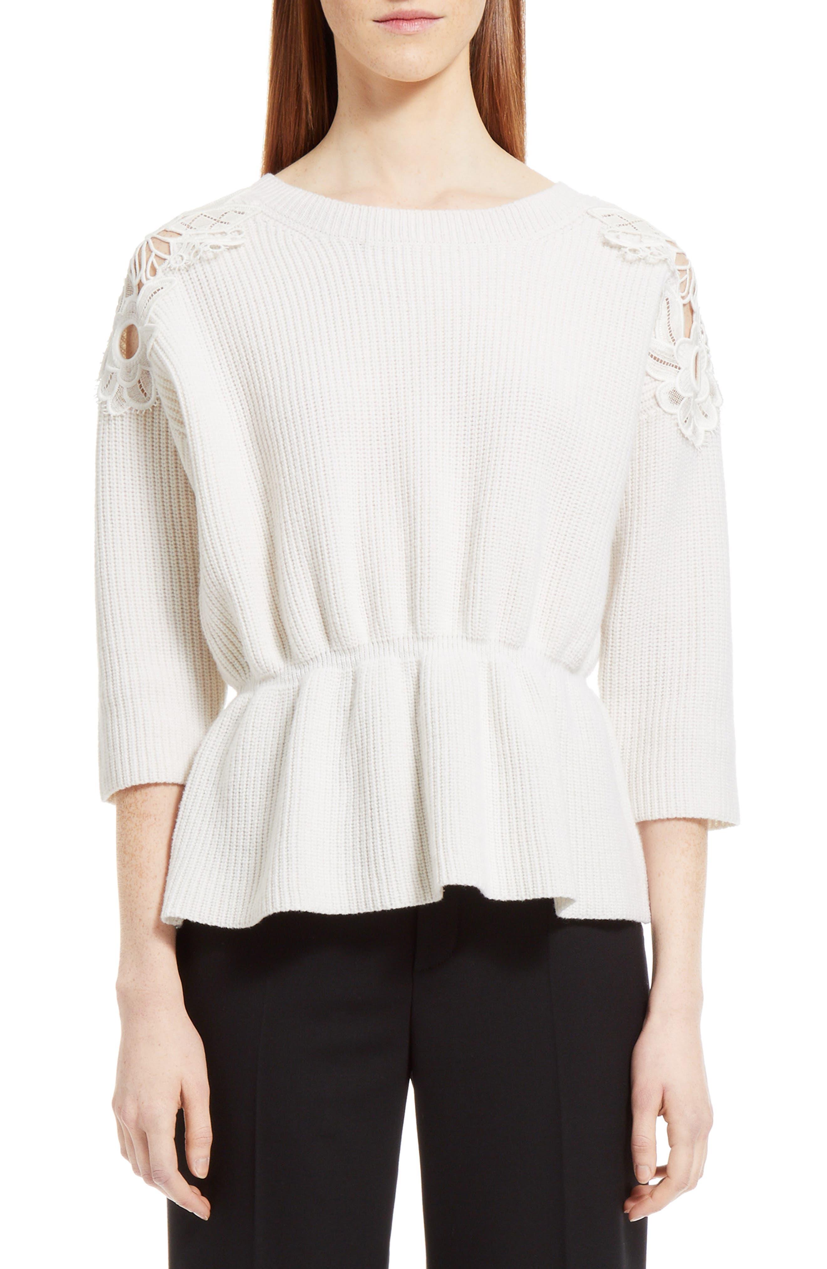 Lace Trim Merino Wool & Cashmere Sweater,                         Main,                         color, 901