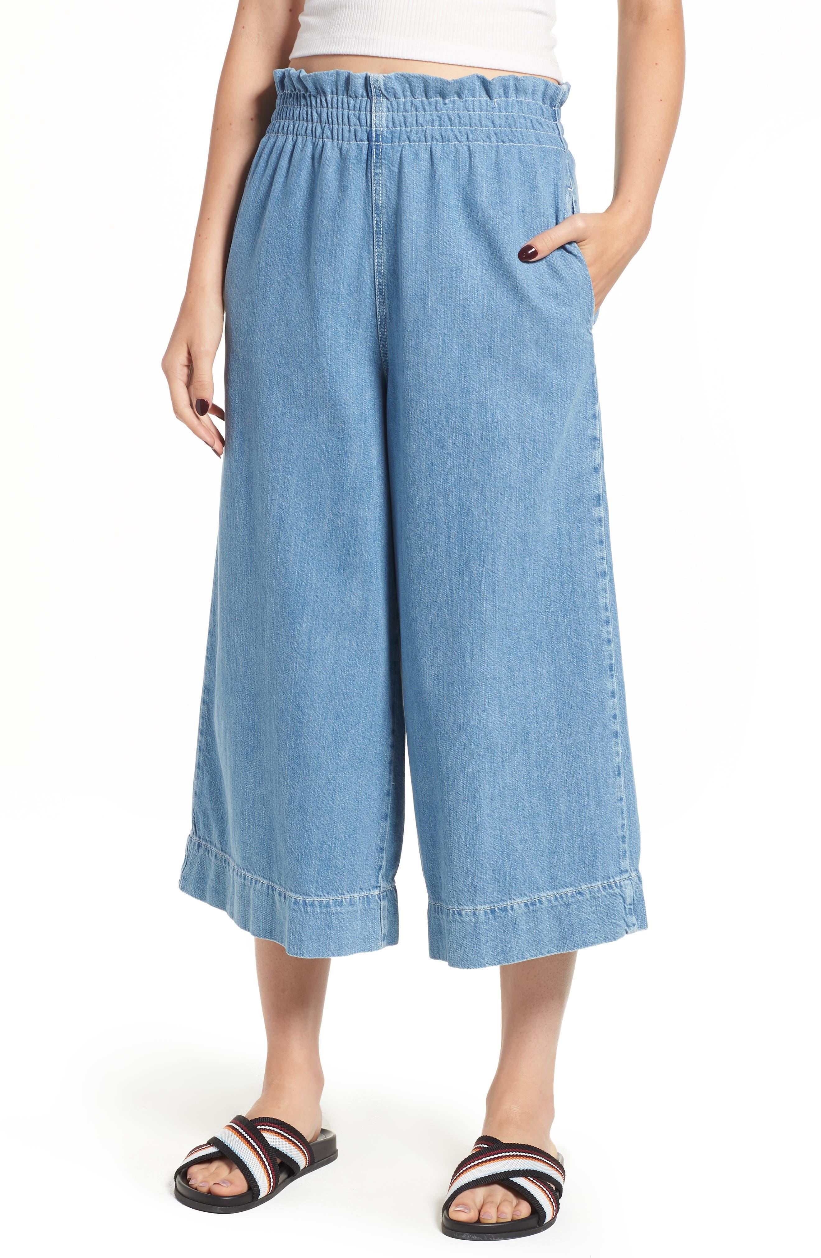 Wide Leg Crop Jeans,                             Main thumbnail 1, color,                             LIGHT DENIM