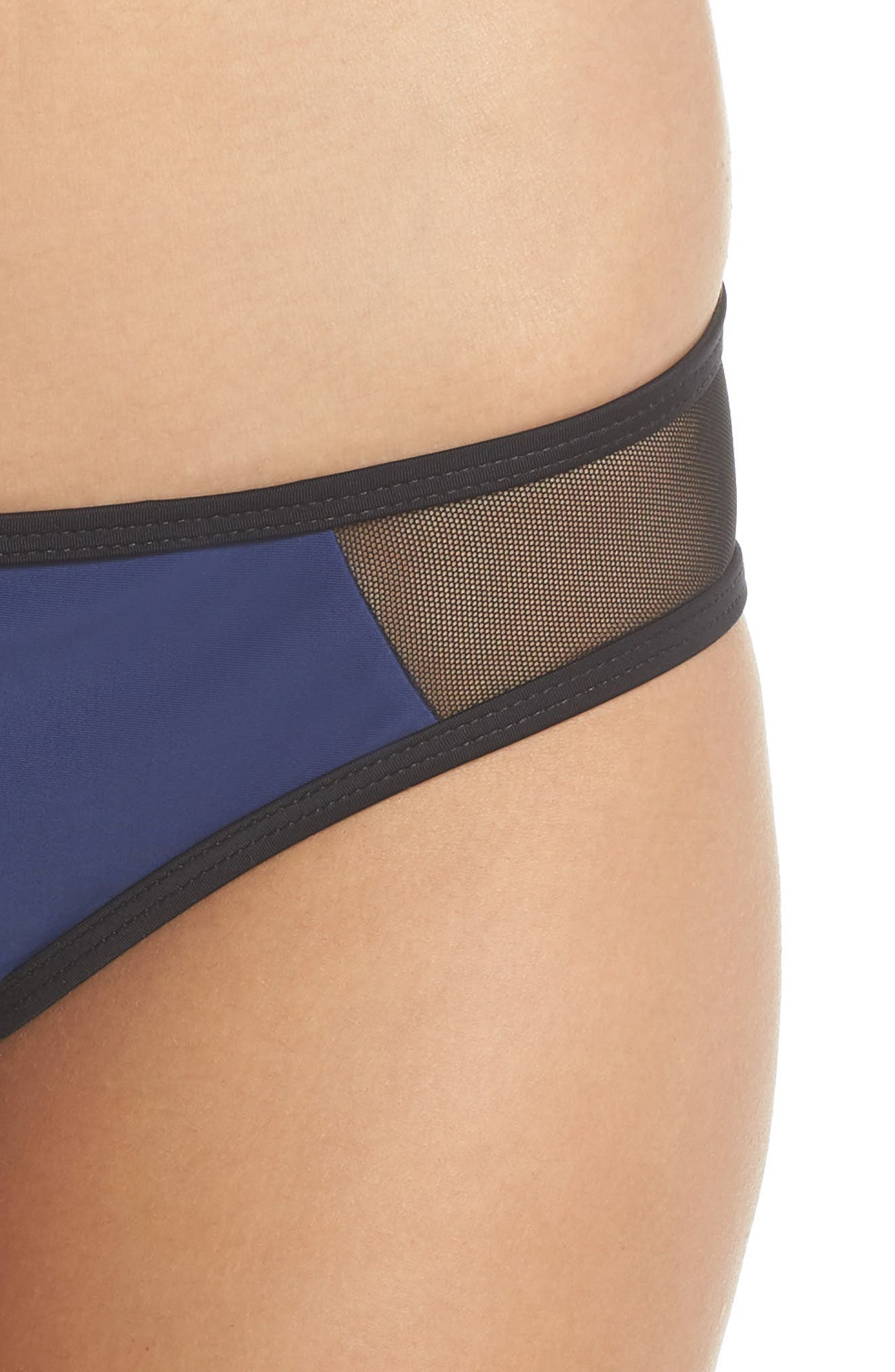 Racer Hipster Bikini Bottoms,                             Alternate thumbnail 4, color,                             BLUE/ BLACK