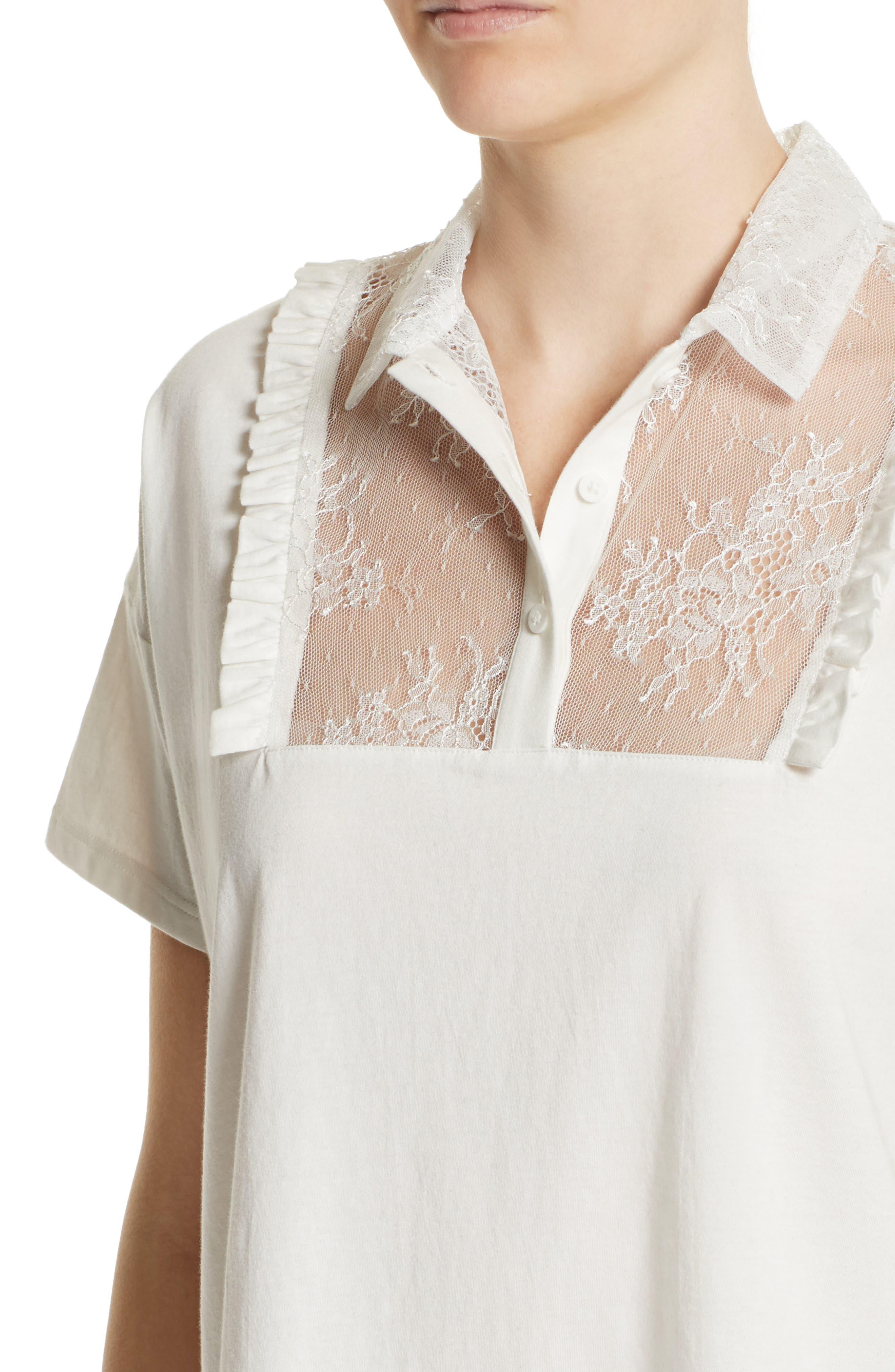 Lace & Ruffle Cotton Top,                             Alternate thumbnail 4, color,                             900