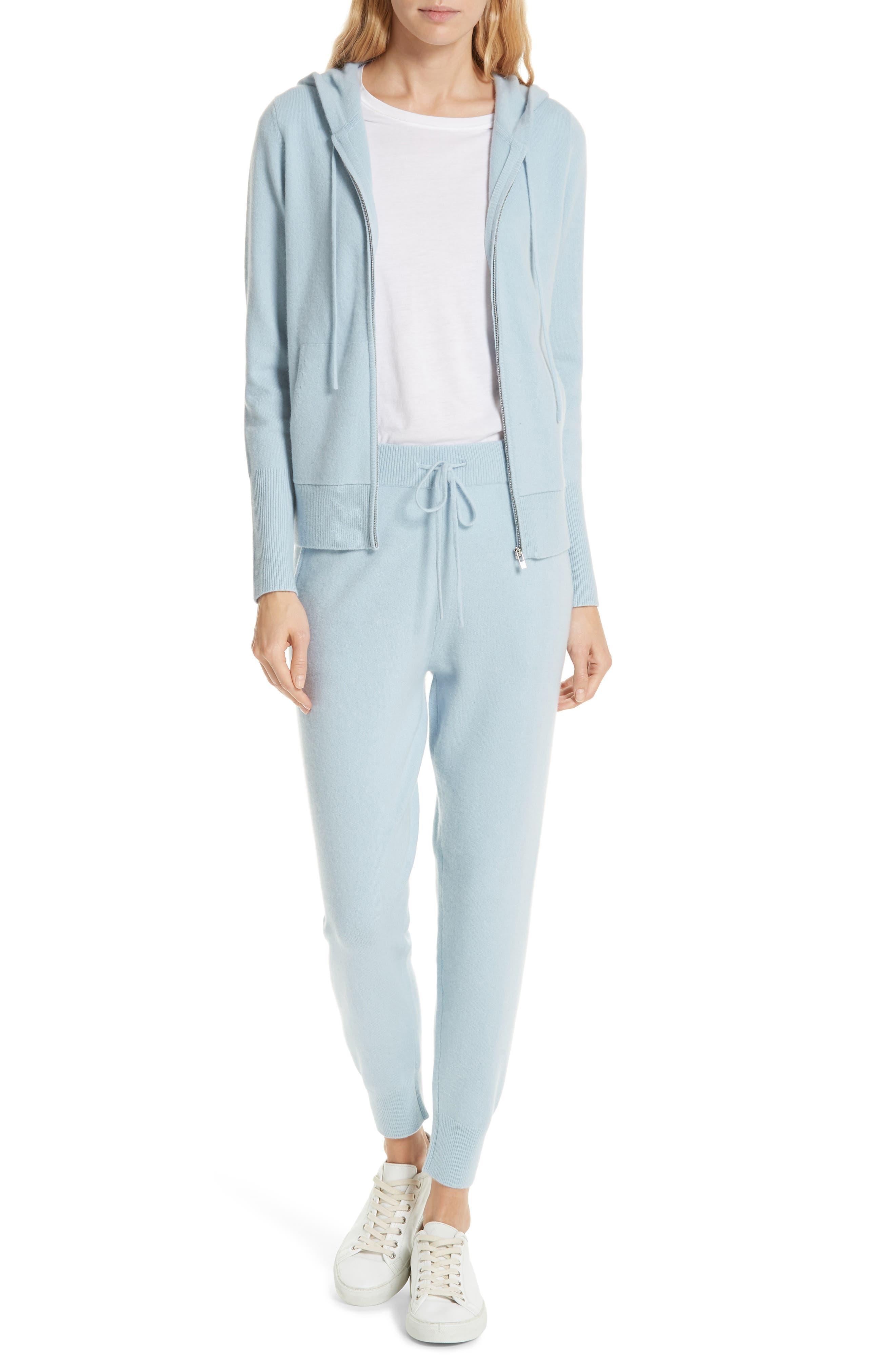 Cashmere Blend Zip Front Hoodie,                             Alternate thumbnail 7, color,                             BLUE FOG