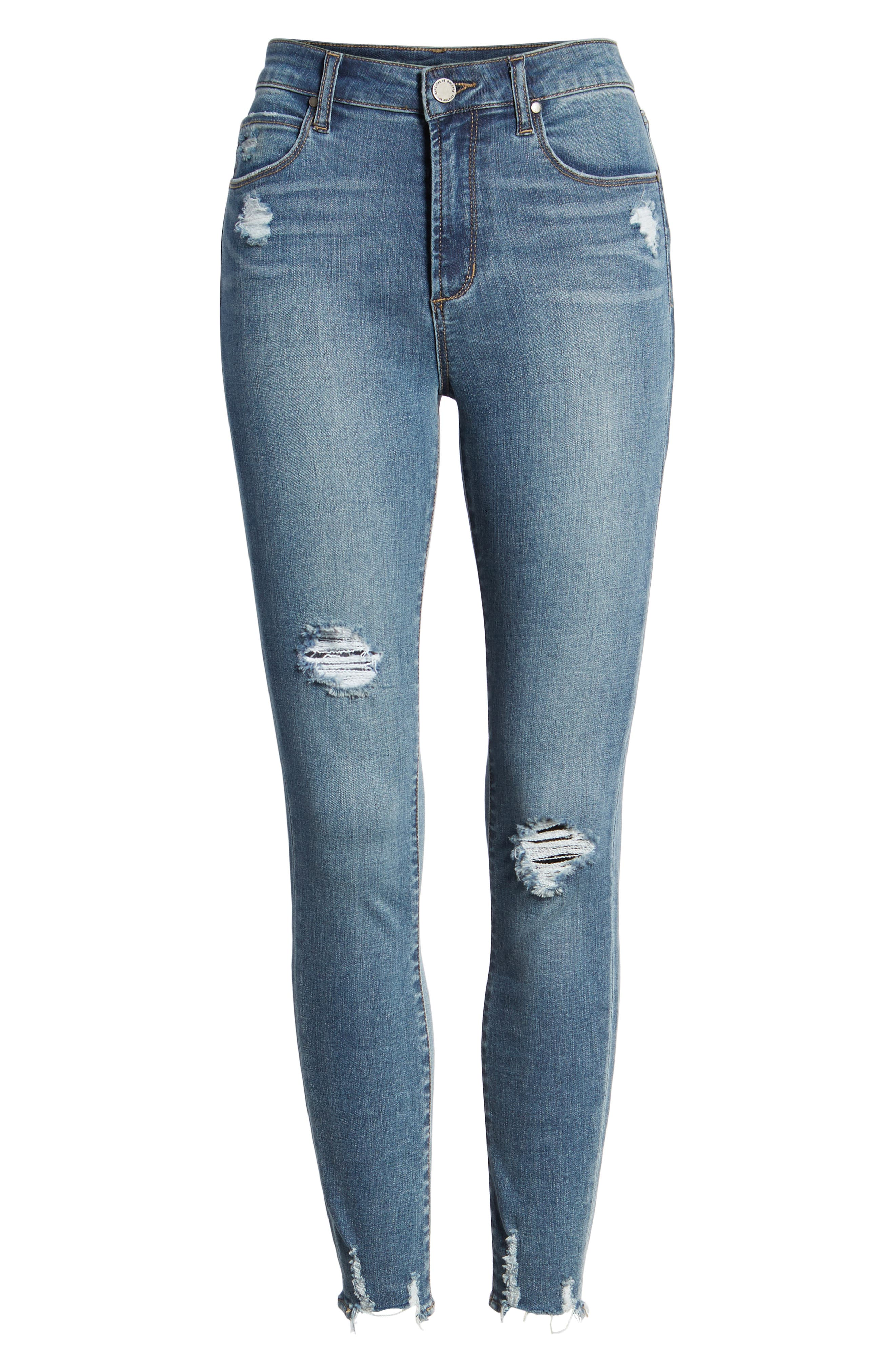 Heather High Waist Distressed Skinny Jeans,                             Alternate thumbnail 7, color,                             453