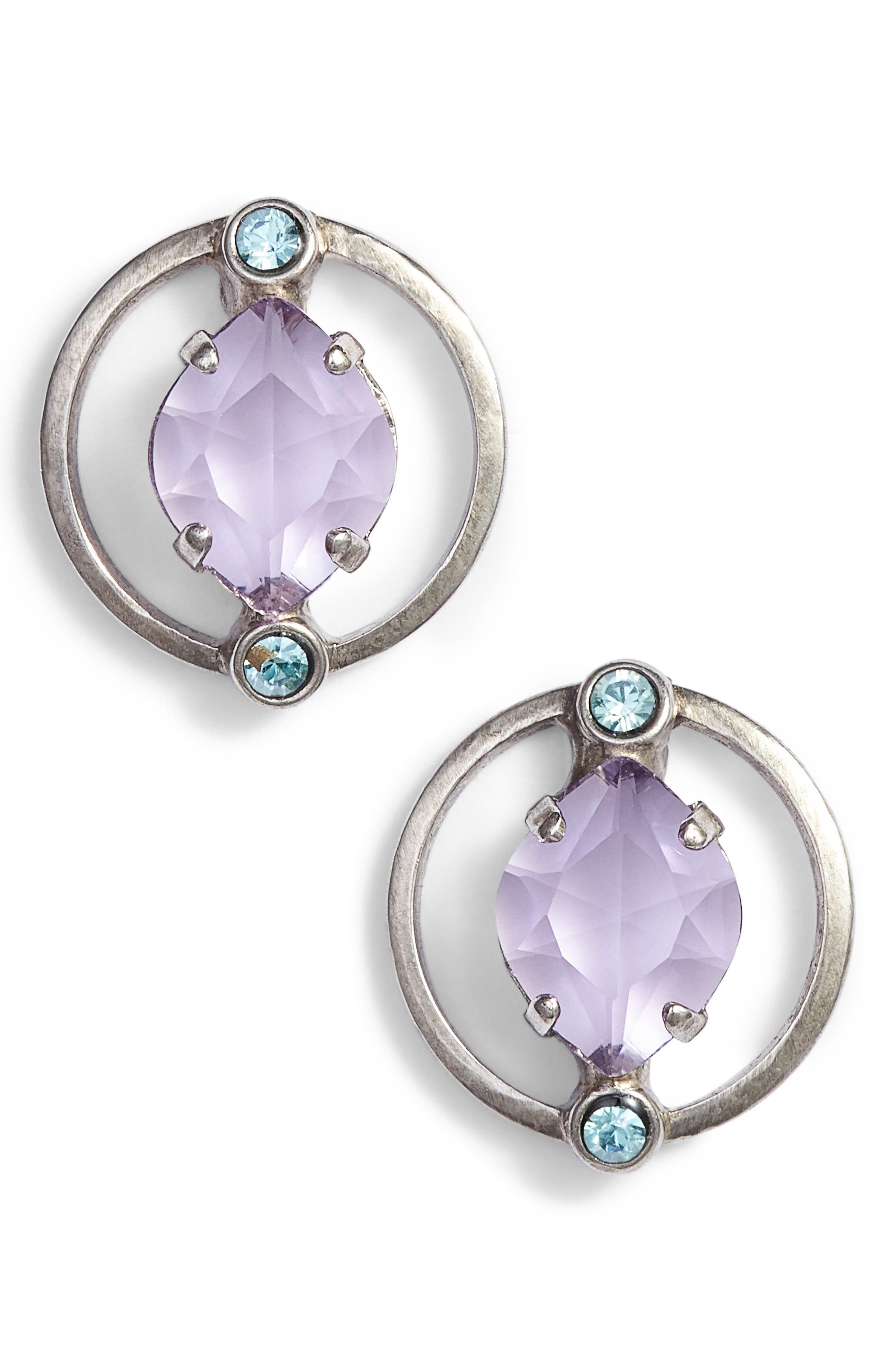 Tiger Lily Crystal Earrings,                         Main,                         color, PURPLE