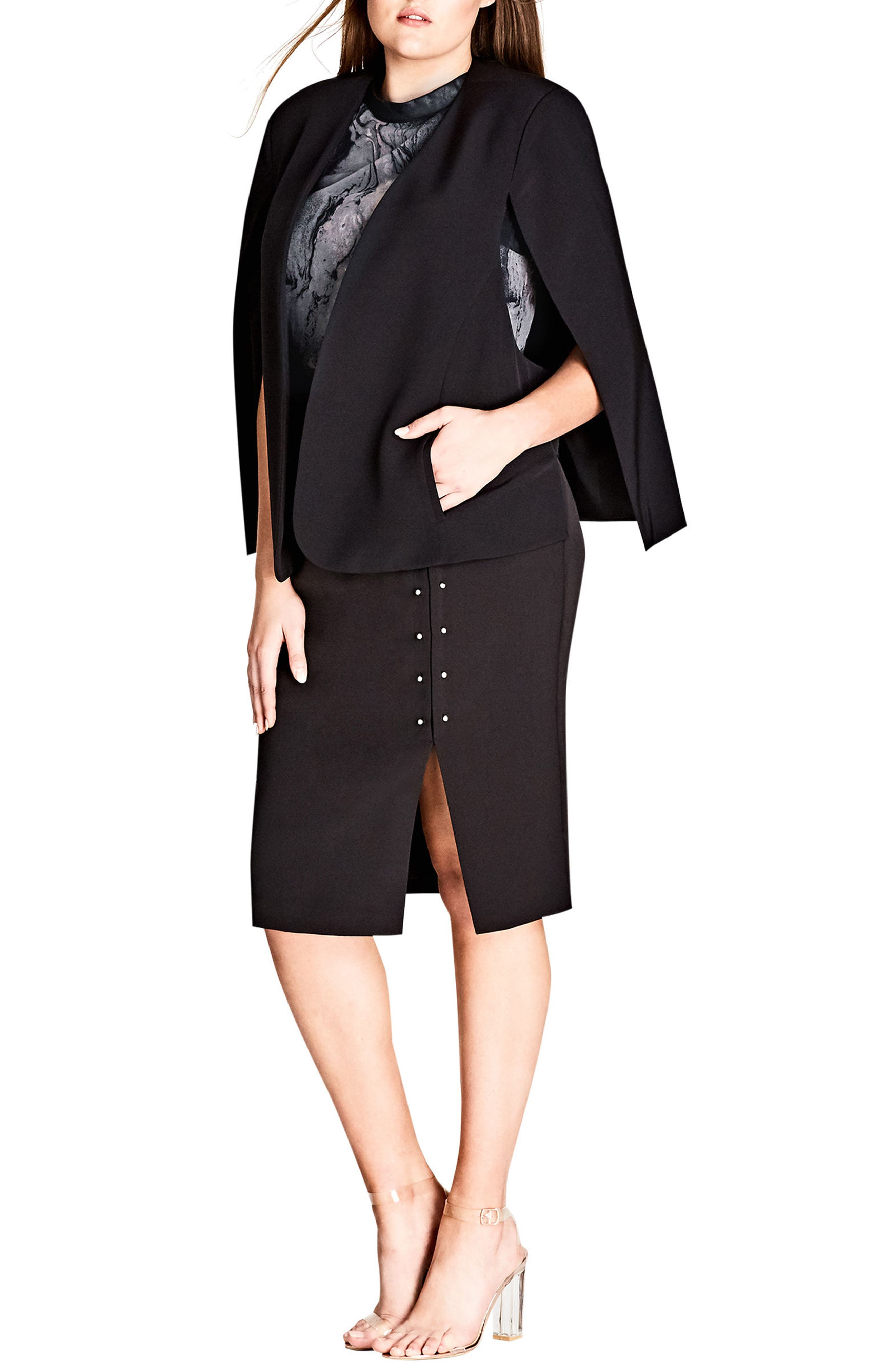 CITY CHIC,                             Sharp Stud Skirt,                             Alternate thumbnail 4, color,                             001
