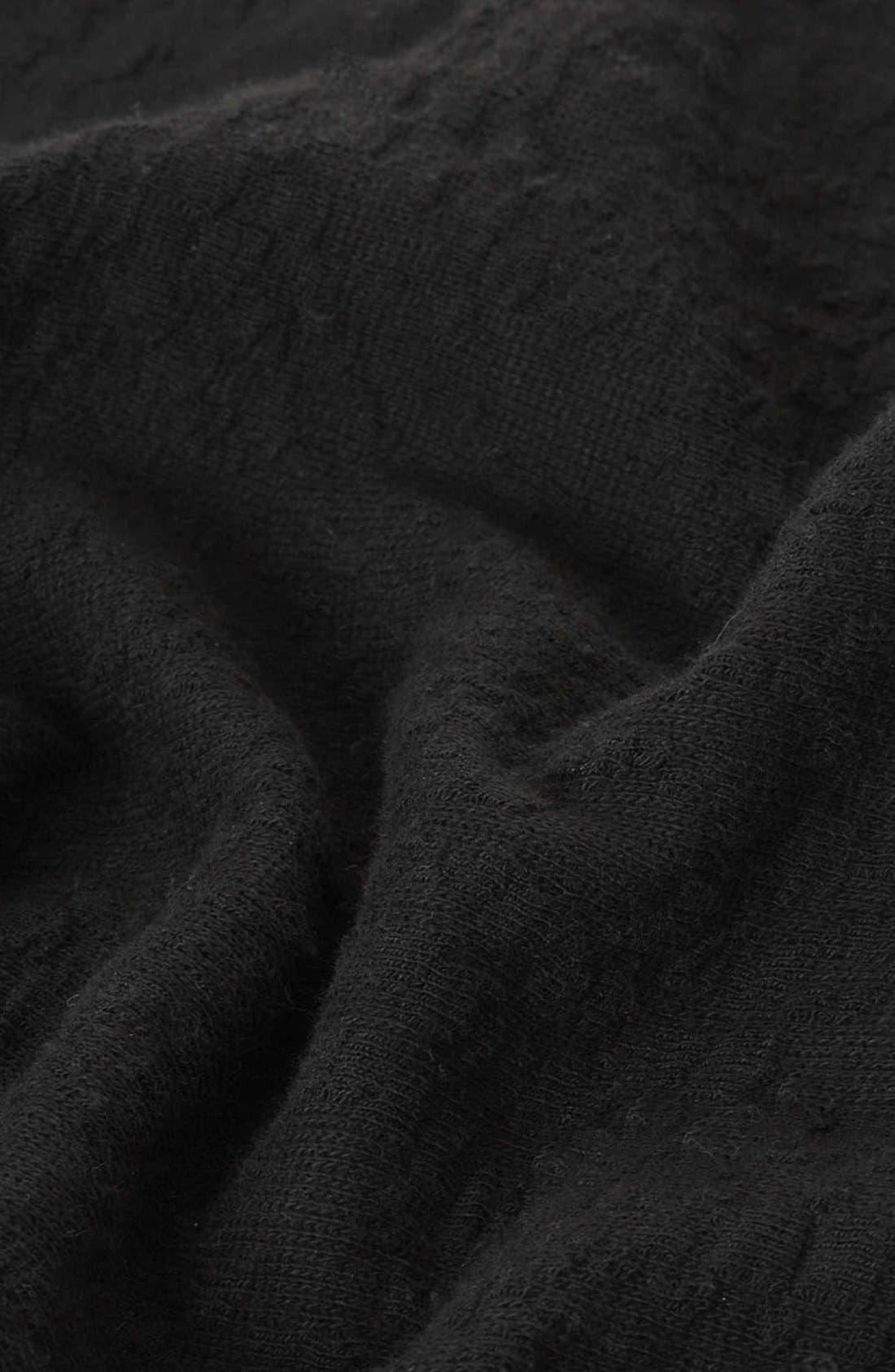 Mock Neck Textured Skater Dress,                             Alternate thumbnail 4, color,                             001