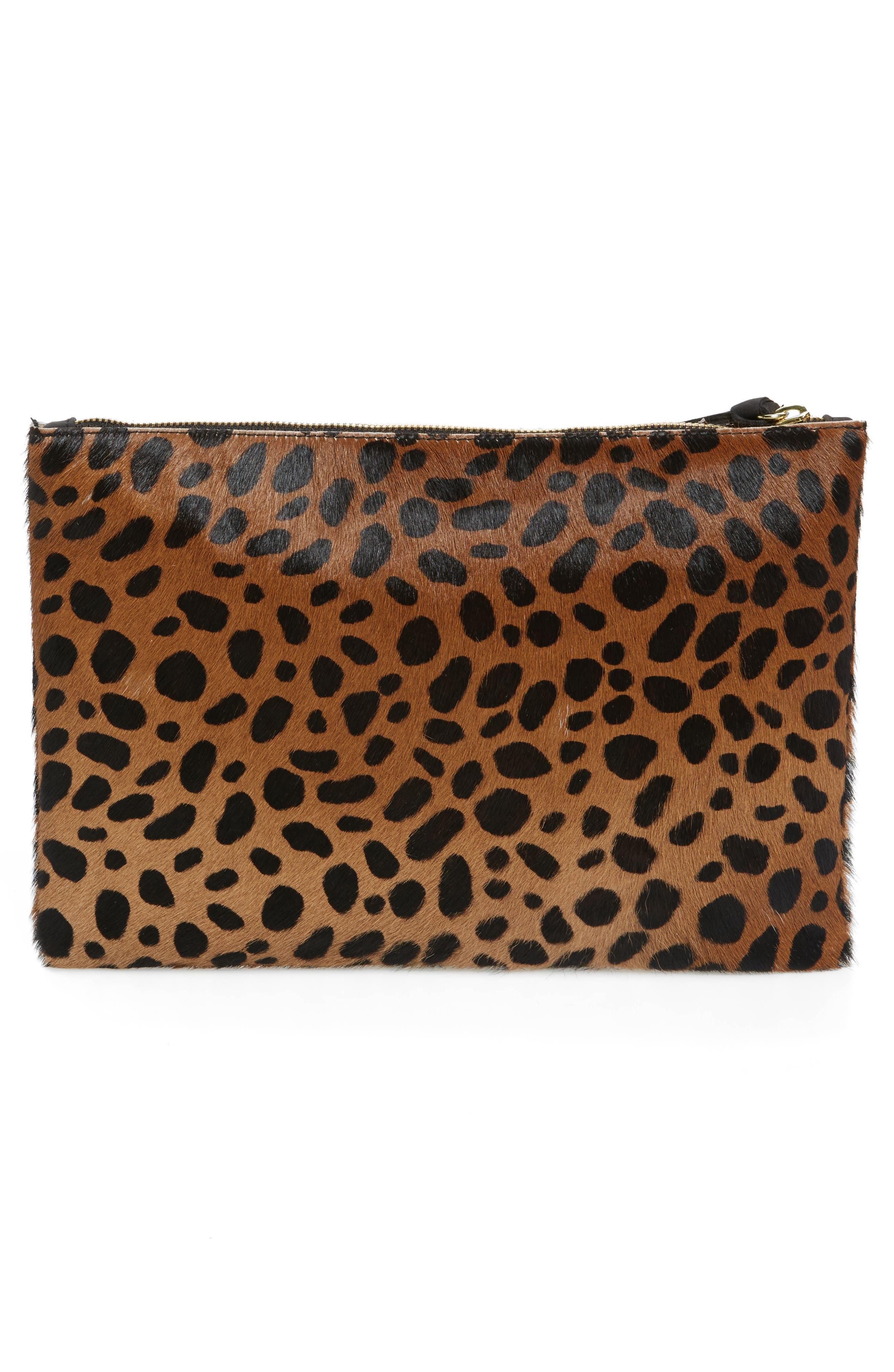Leopard Print Genuine Calf Hair Clutch,                             Alternate thumbnail 3, color,