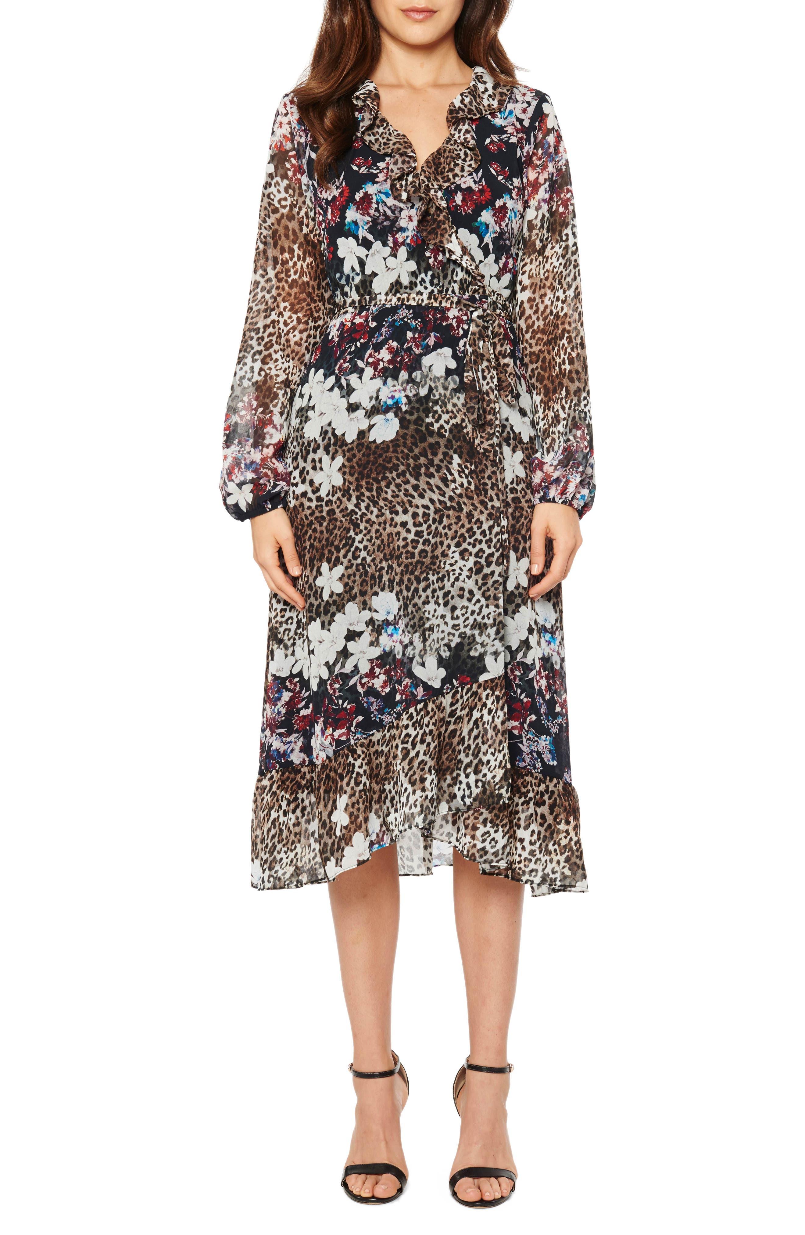 Animal Print Floral Wrap Dress,                             Alternate thumbnail 3, color,