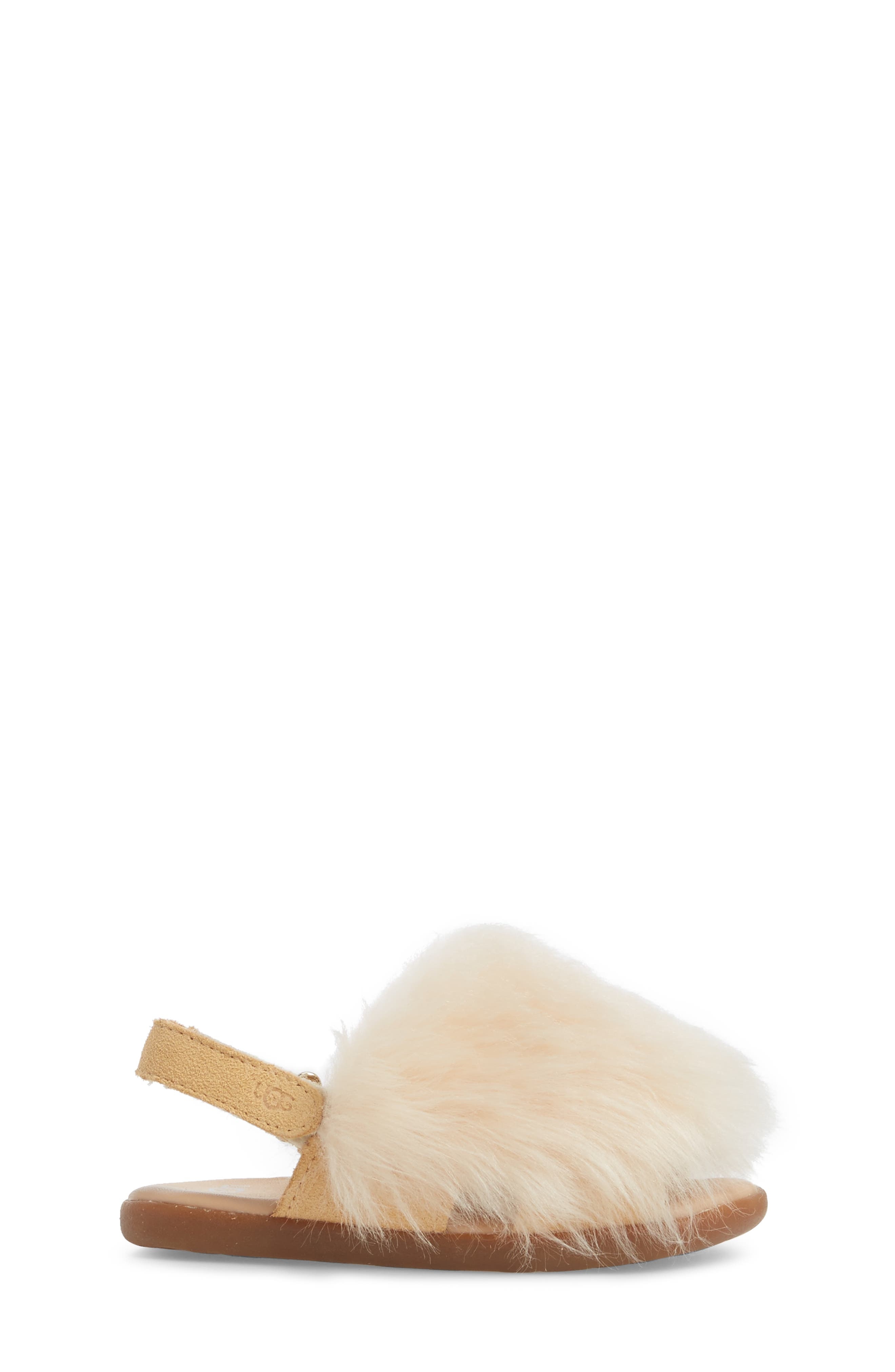 Holly Genuine Shearling Sandal,                             Alternate thumbnail 3, color,                             SOFT OCHRE