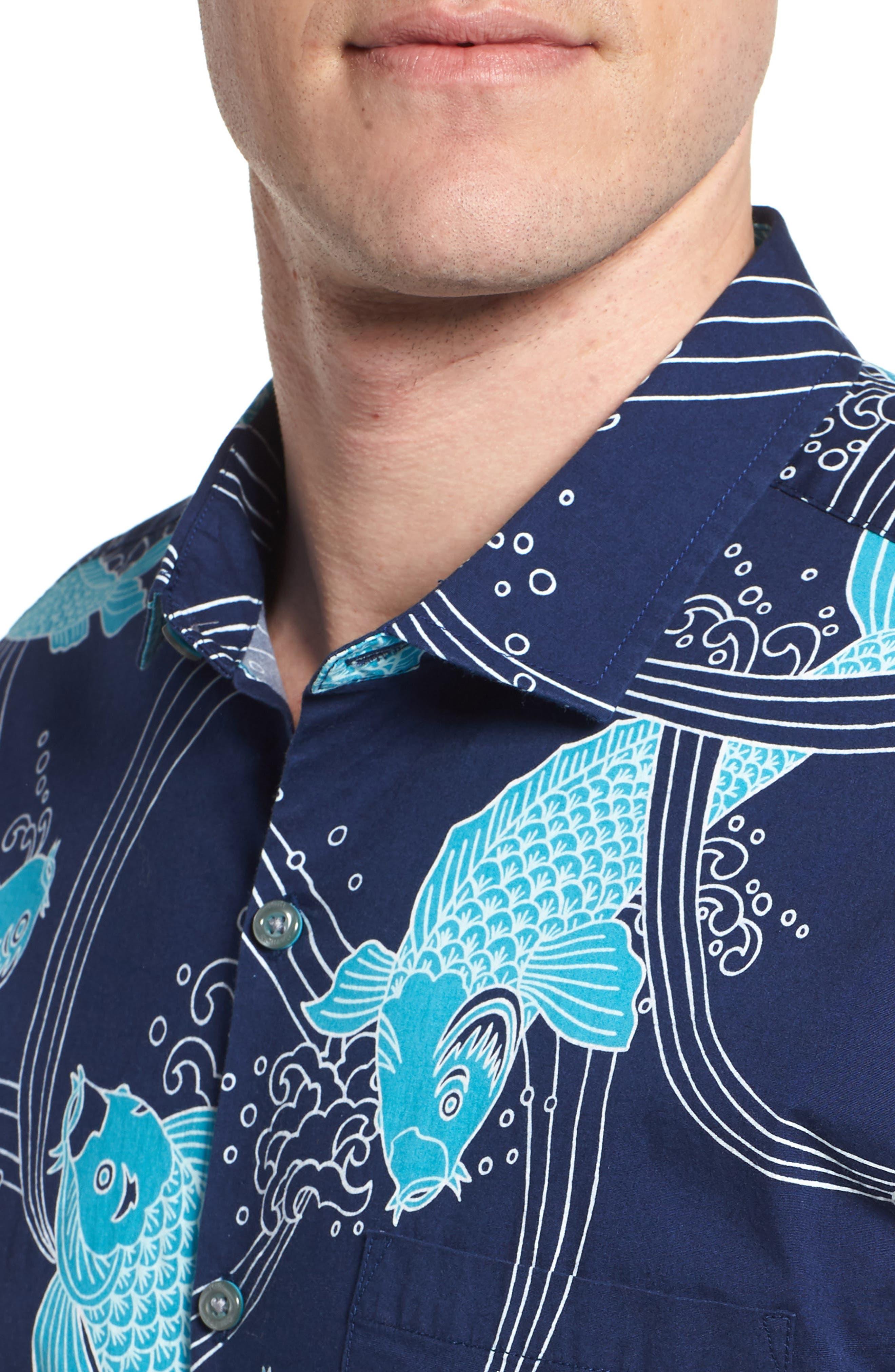 Koi Cabana Trim Fit Camp Shirt,                             Alternate thumbnail 4, color,                             415